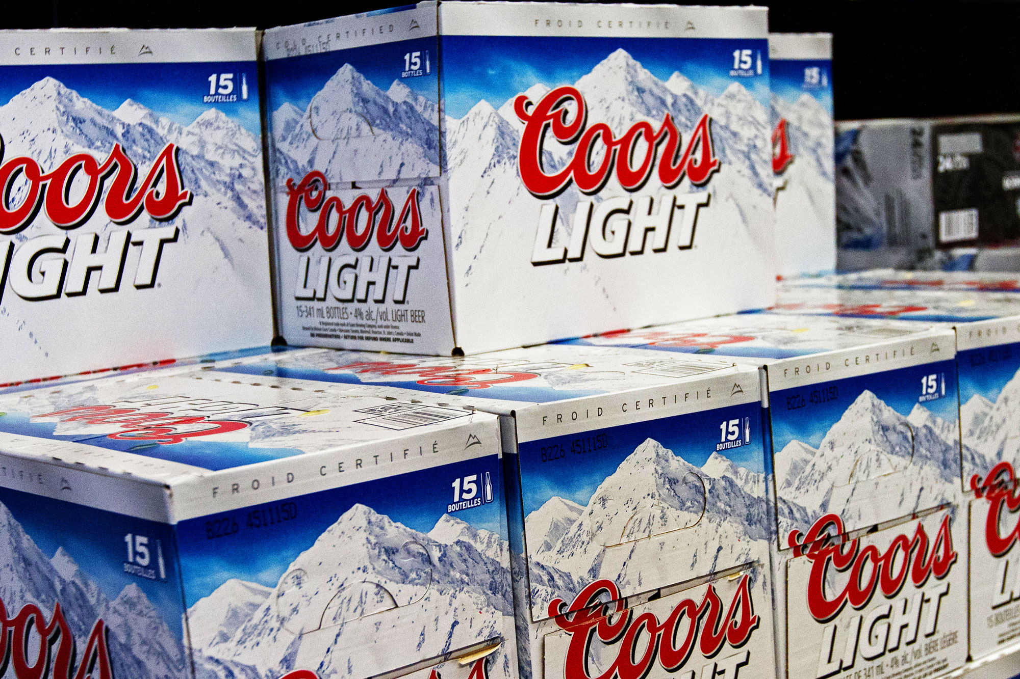 Coors Light beer cases on display in a store