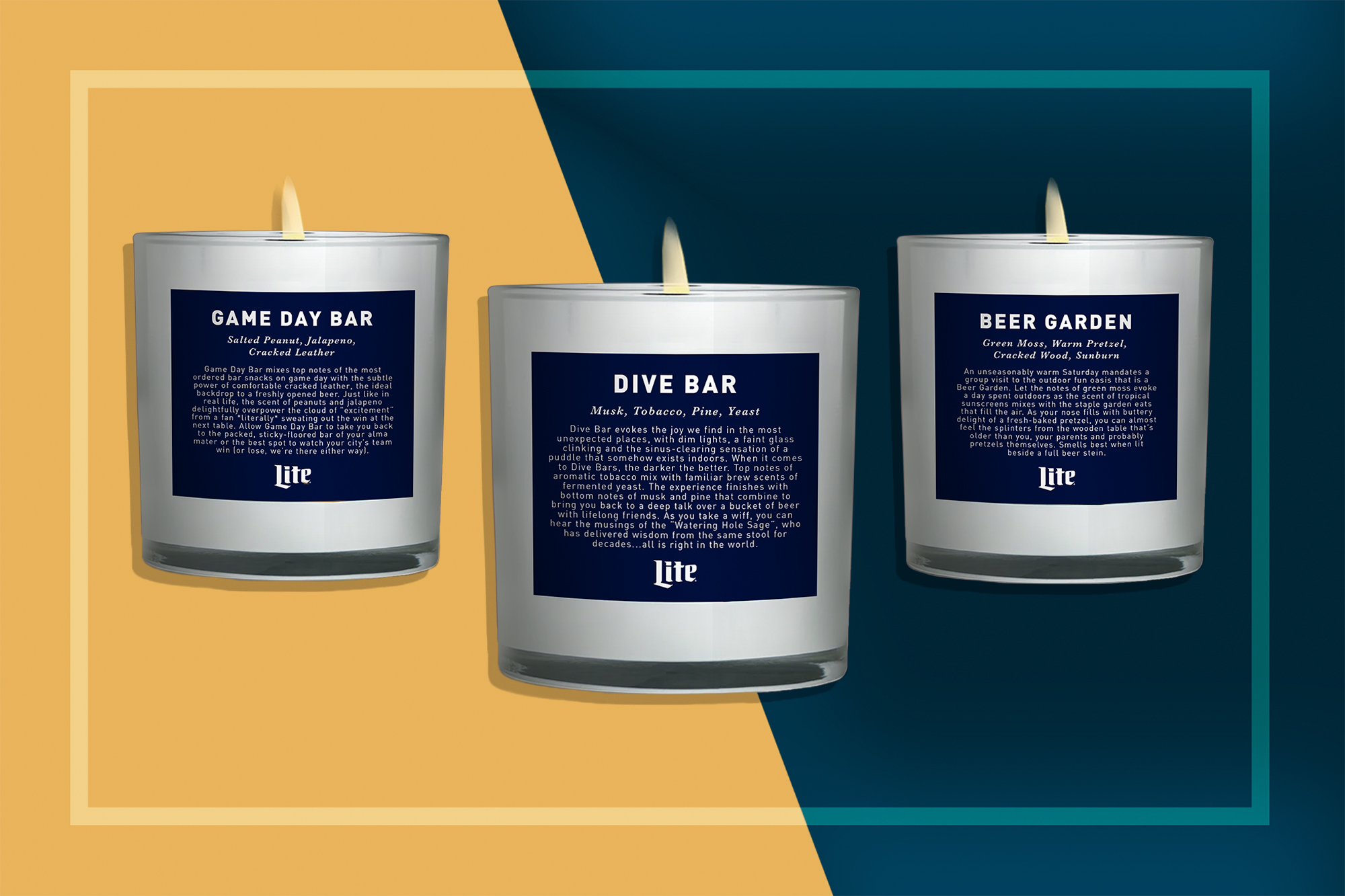 Dive Bar, Game Day Bar, and Beer Garden Scented Candles by Miller Lite