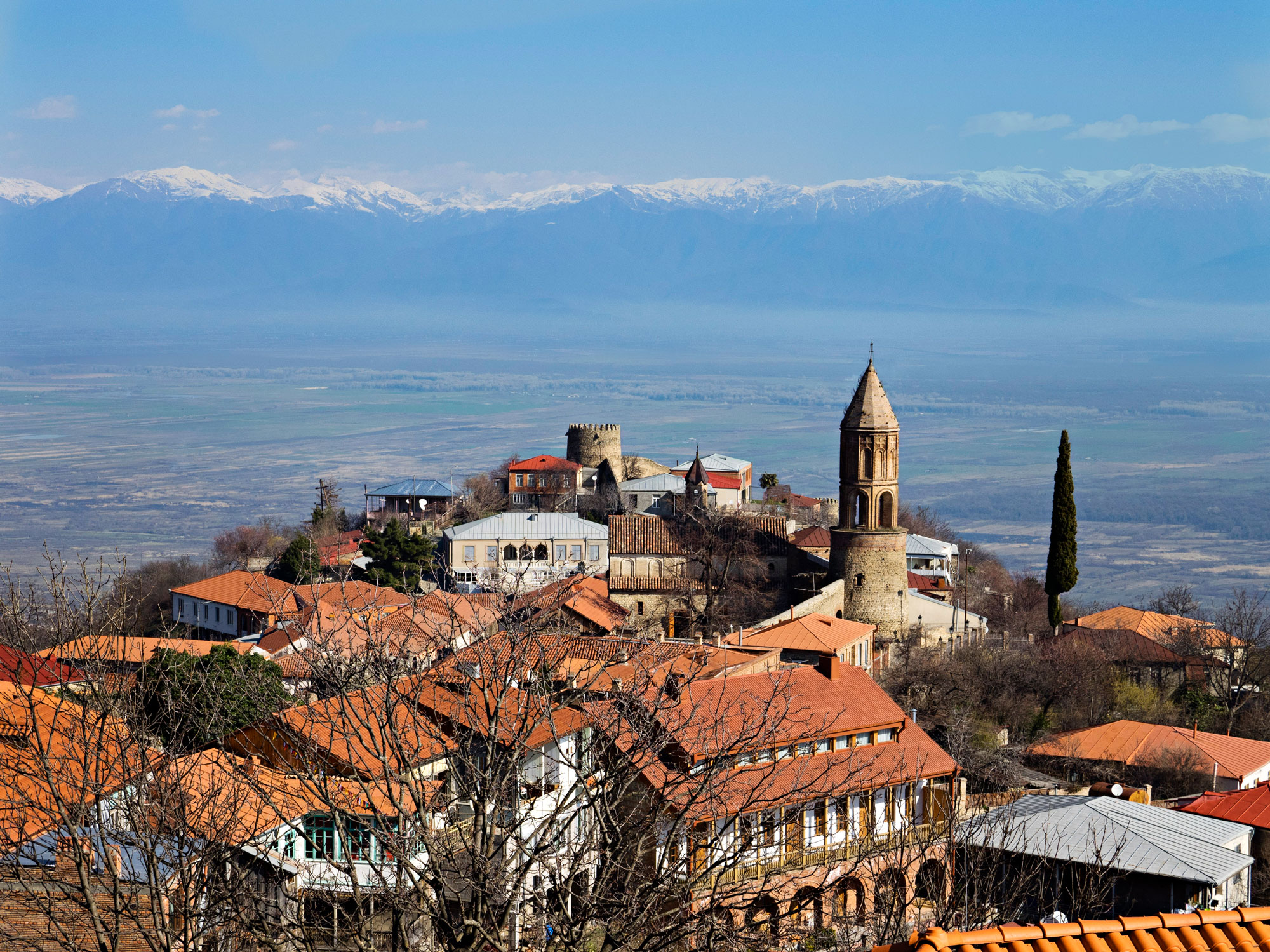 the Kakheti valley, under the peaks of the towering Caucasus Mountains