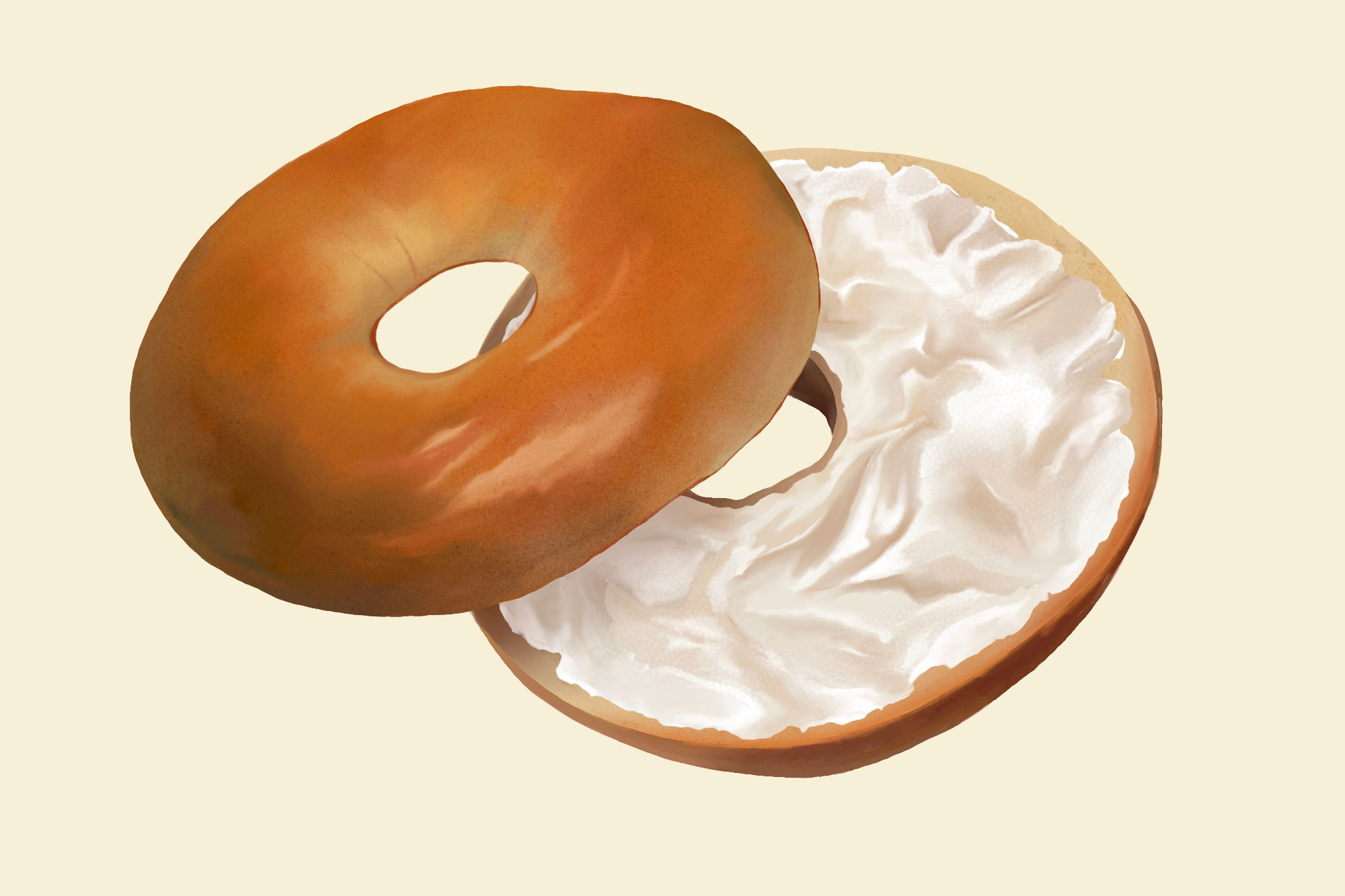 illustration of bagel with cream cheese