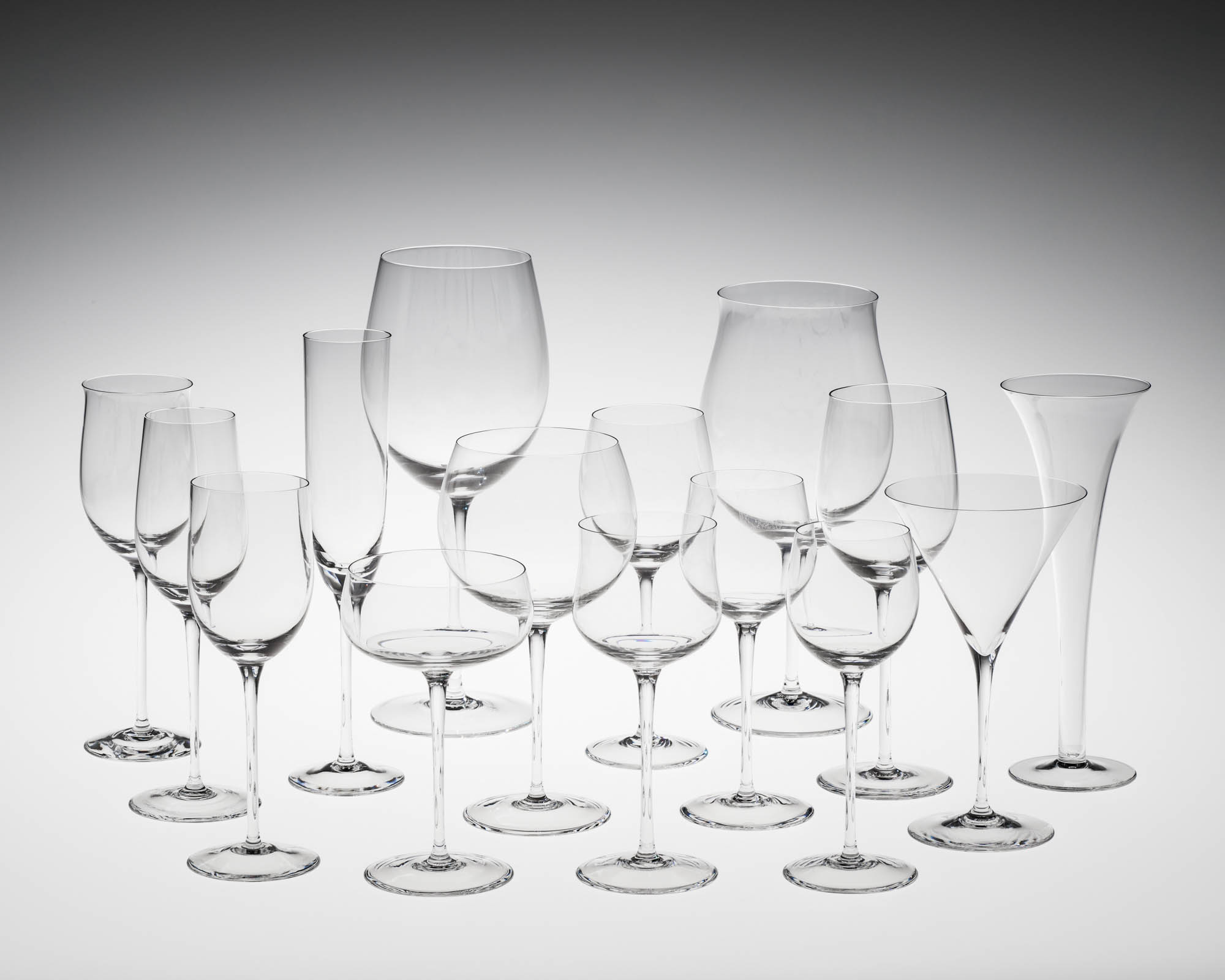 Goblets from the Sommeliers Series, designed in 1973, made in 1982, Blown glass