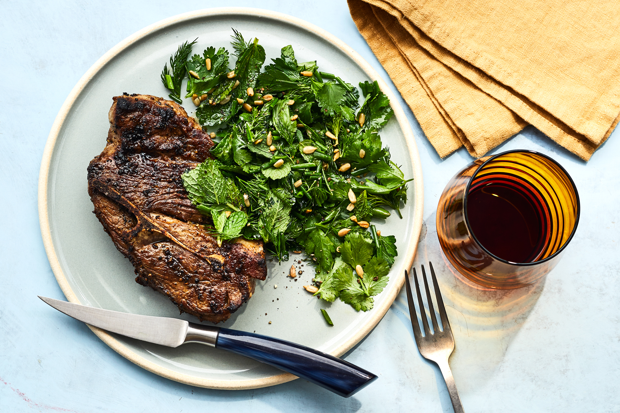 Lamb Shoulder Chops with Herb and Sunflower Seed Salad