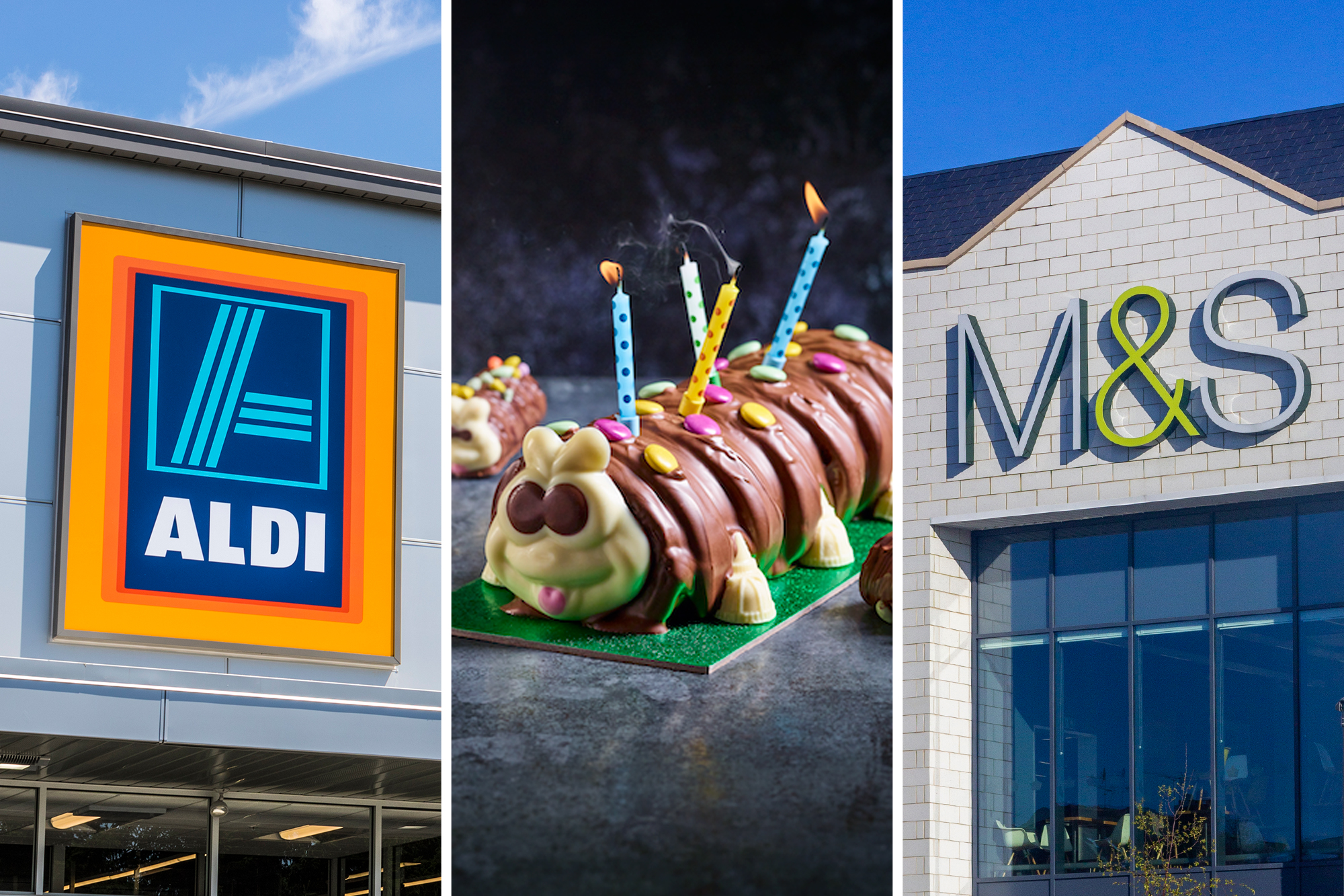 Aldi sign, M&S caterpillar cake, M&S sign