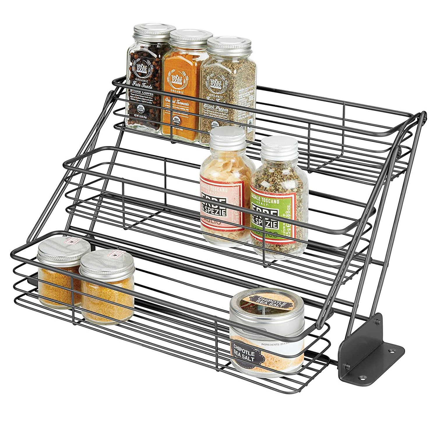 mDesign Metal 3-Tier Pull Down Spice Rack