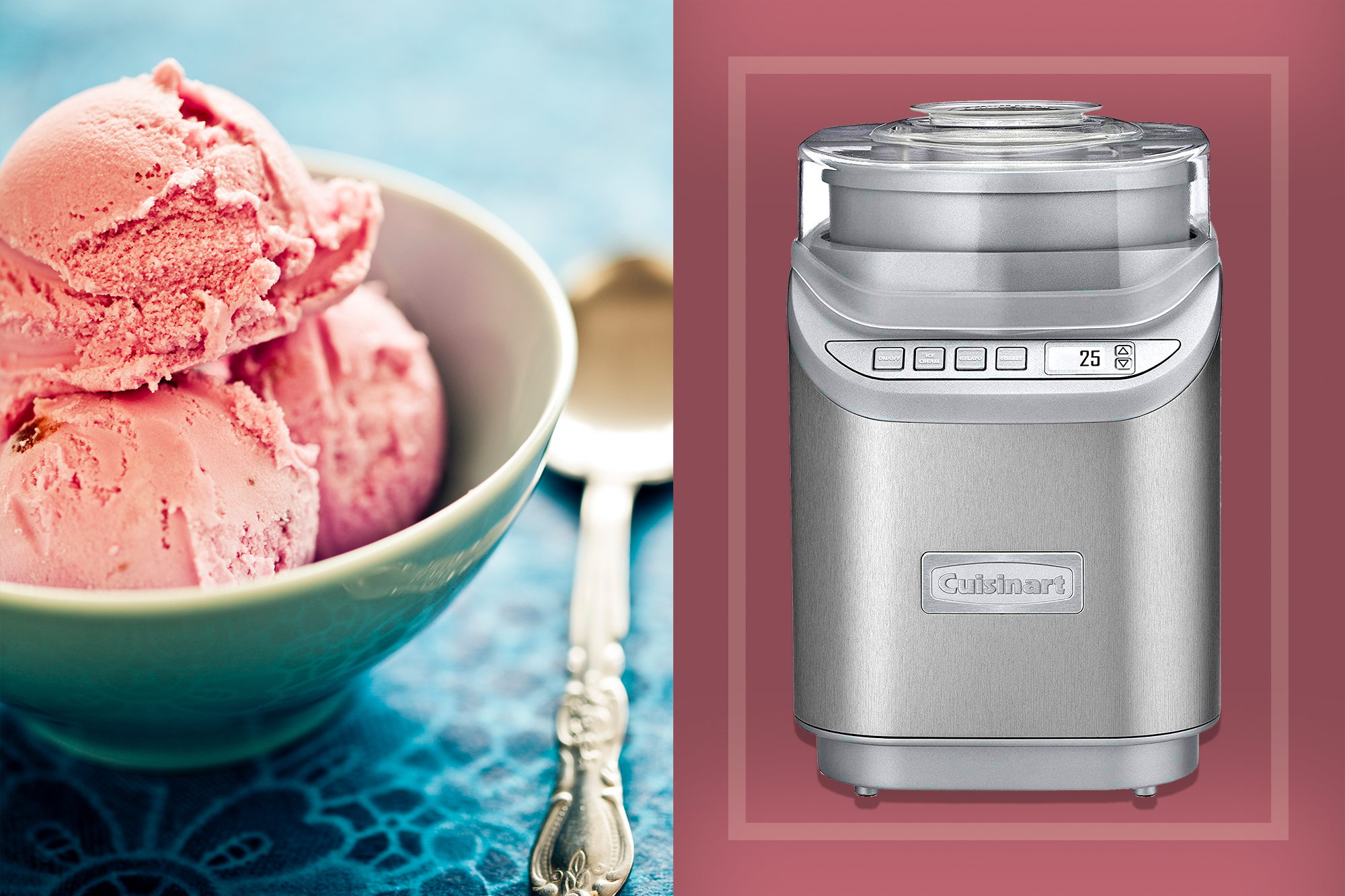 ice cream maker and a bowl of strawberry ice cream