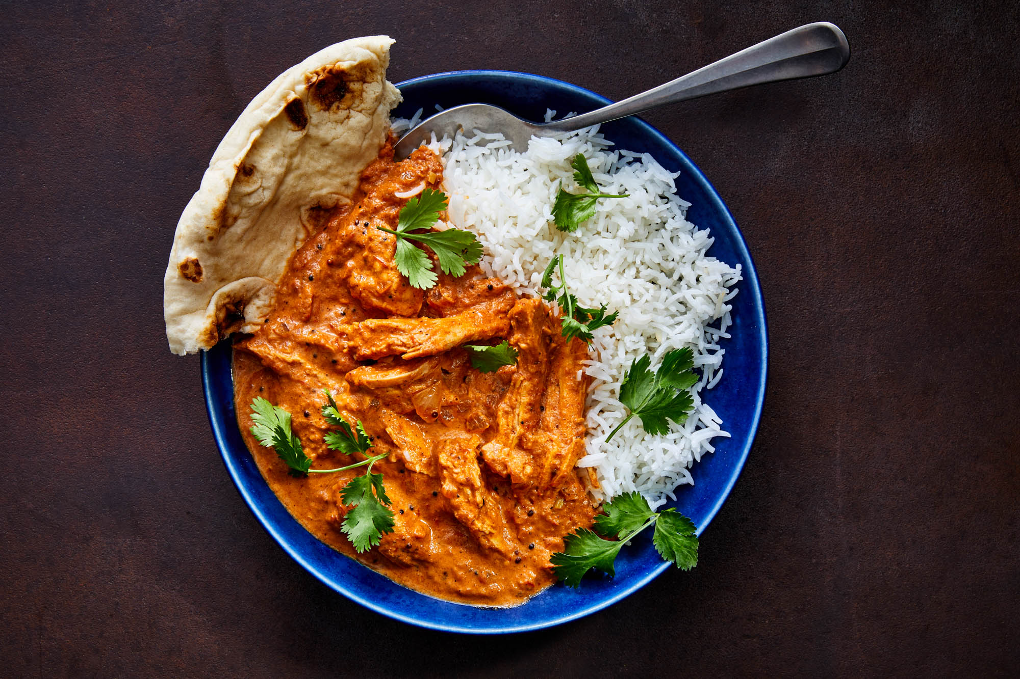 Turkey curry with rice and naan