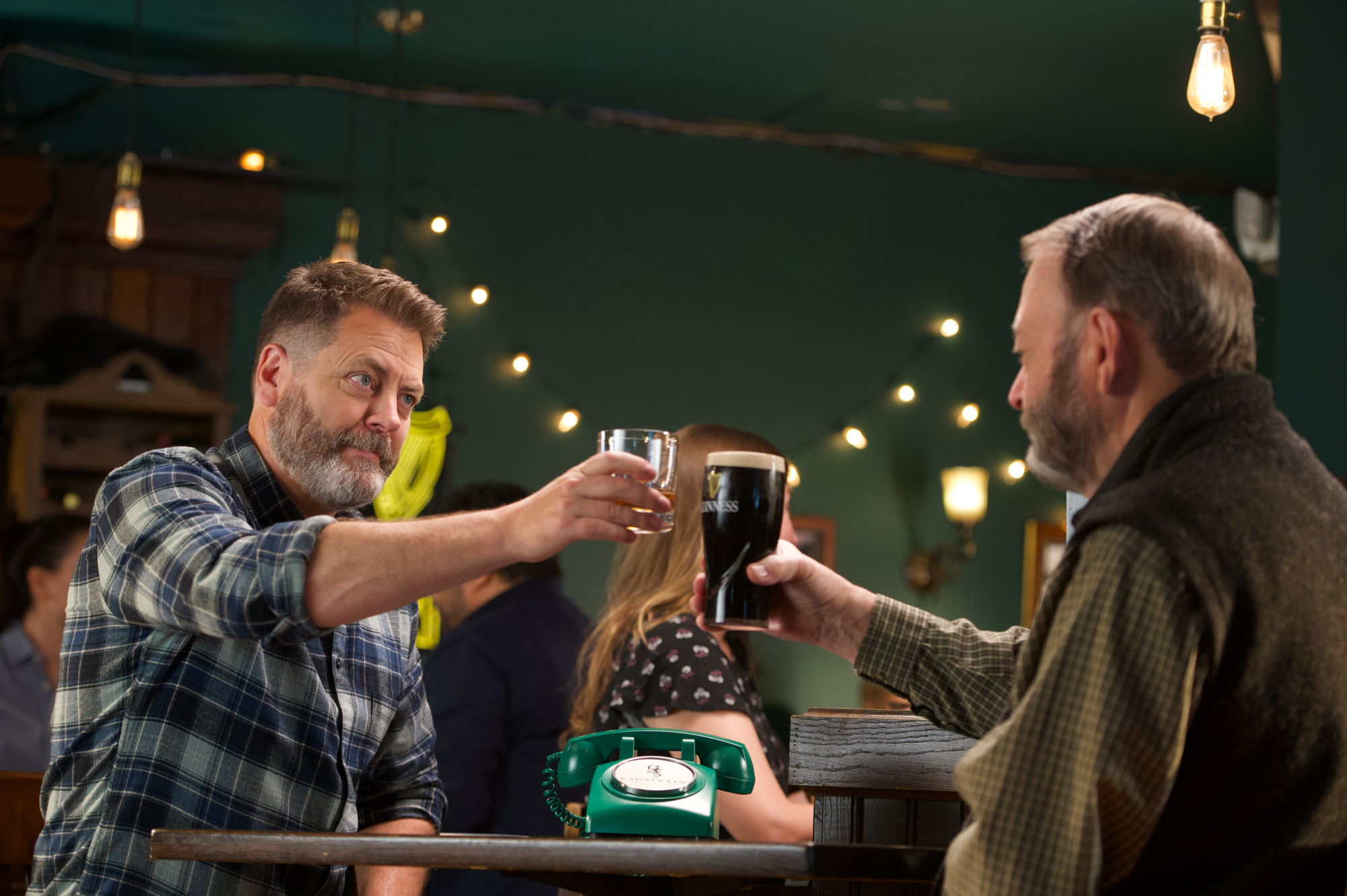Nick Offerman and his father Ric enjoy Lagavulin and Guinness