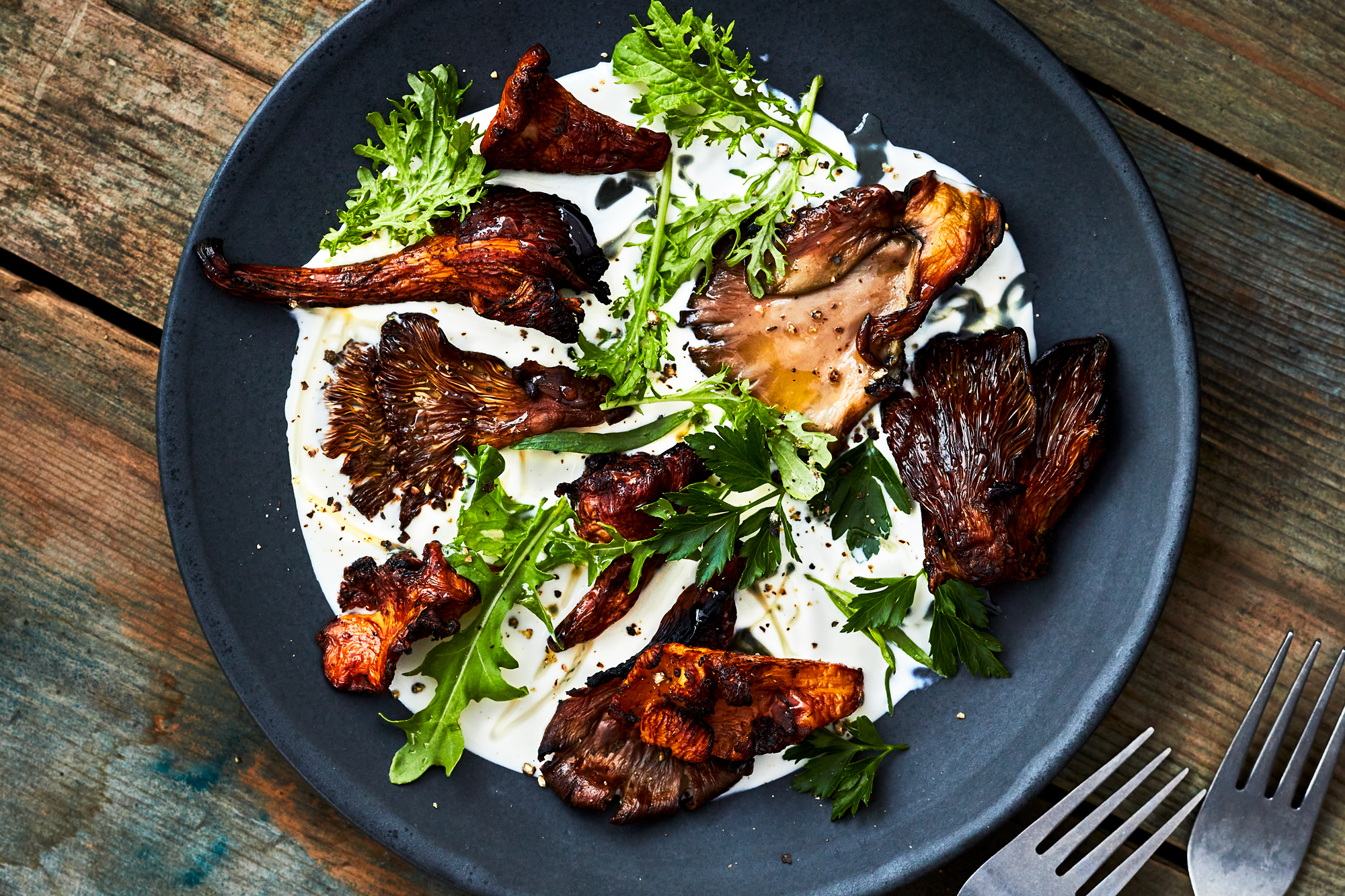 Grilled Mushrooms with smoked creme fraiche