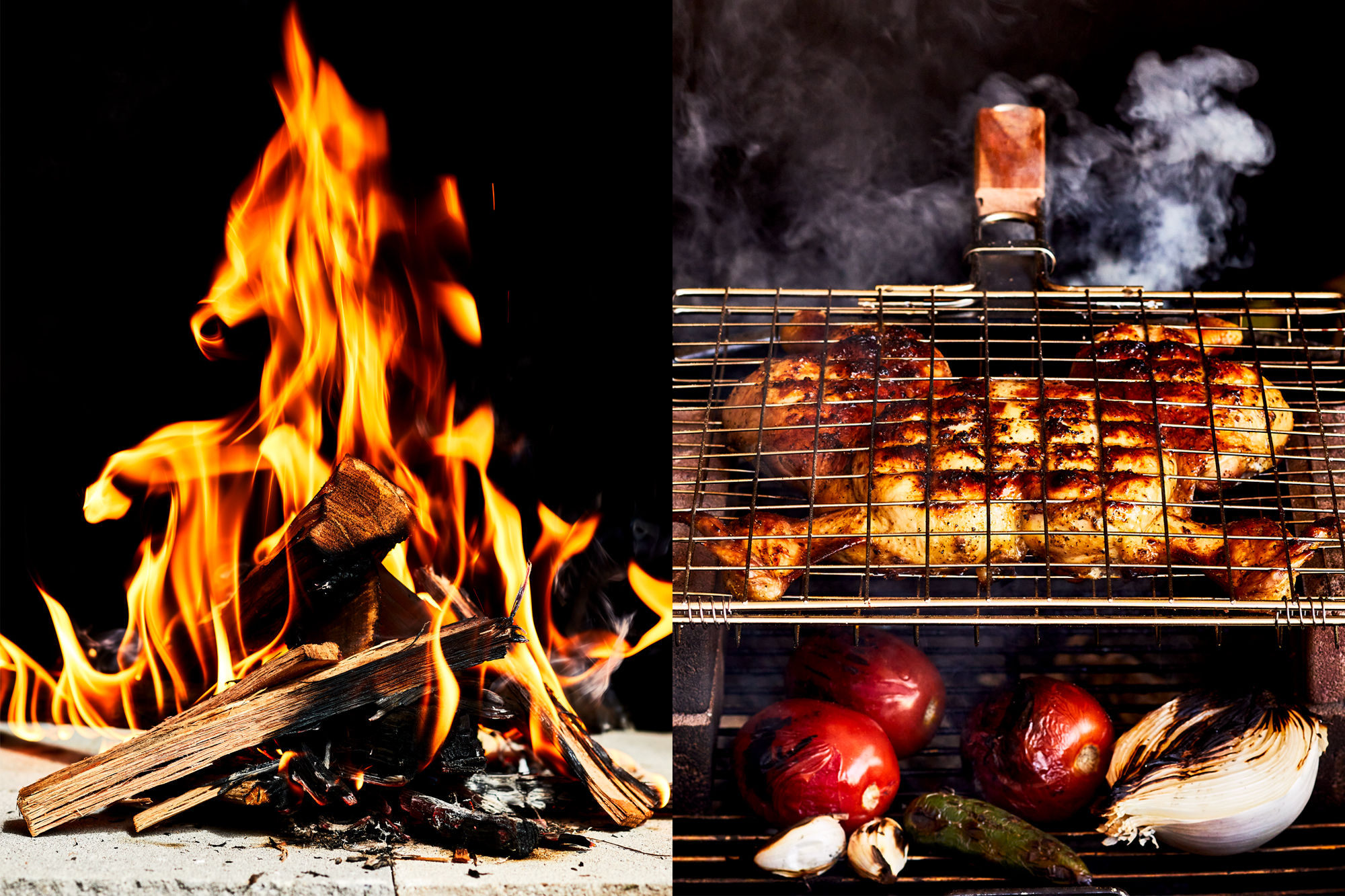 Burning wood and chicken grilling