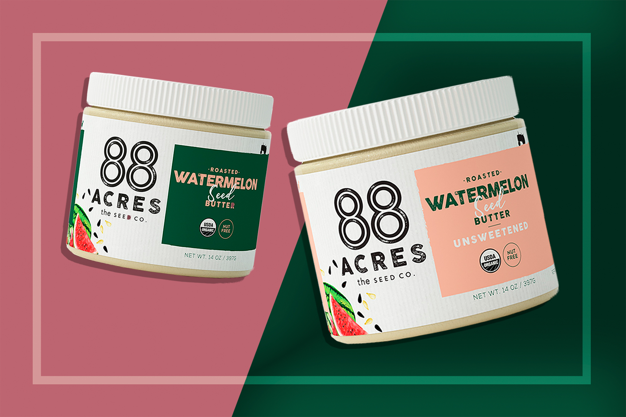 Jars of sweetened and unsweetened watermelon seed butter by 88 Acres