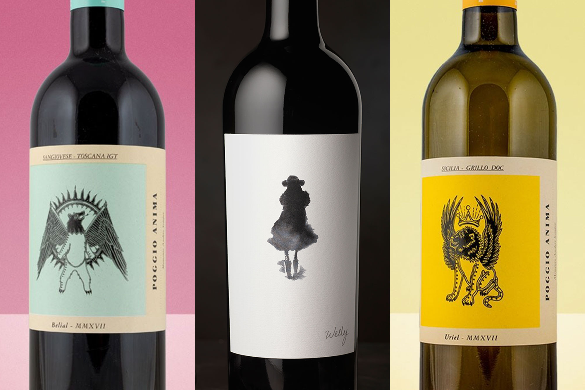 wine bottles with creative labels