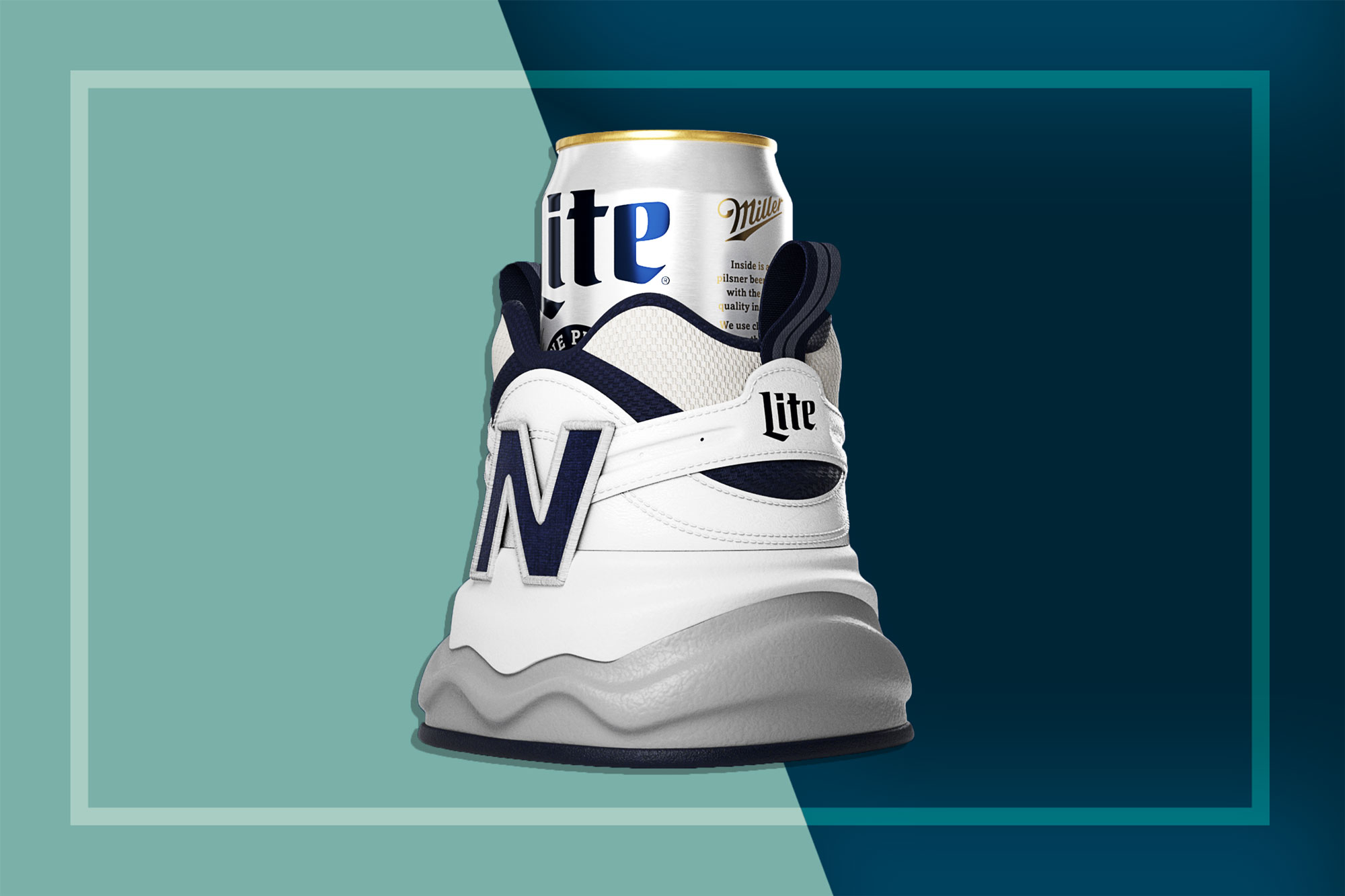 Shoe-shaped beer holding by New Balance x Miller Lite
