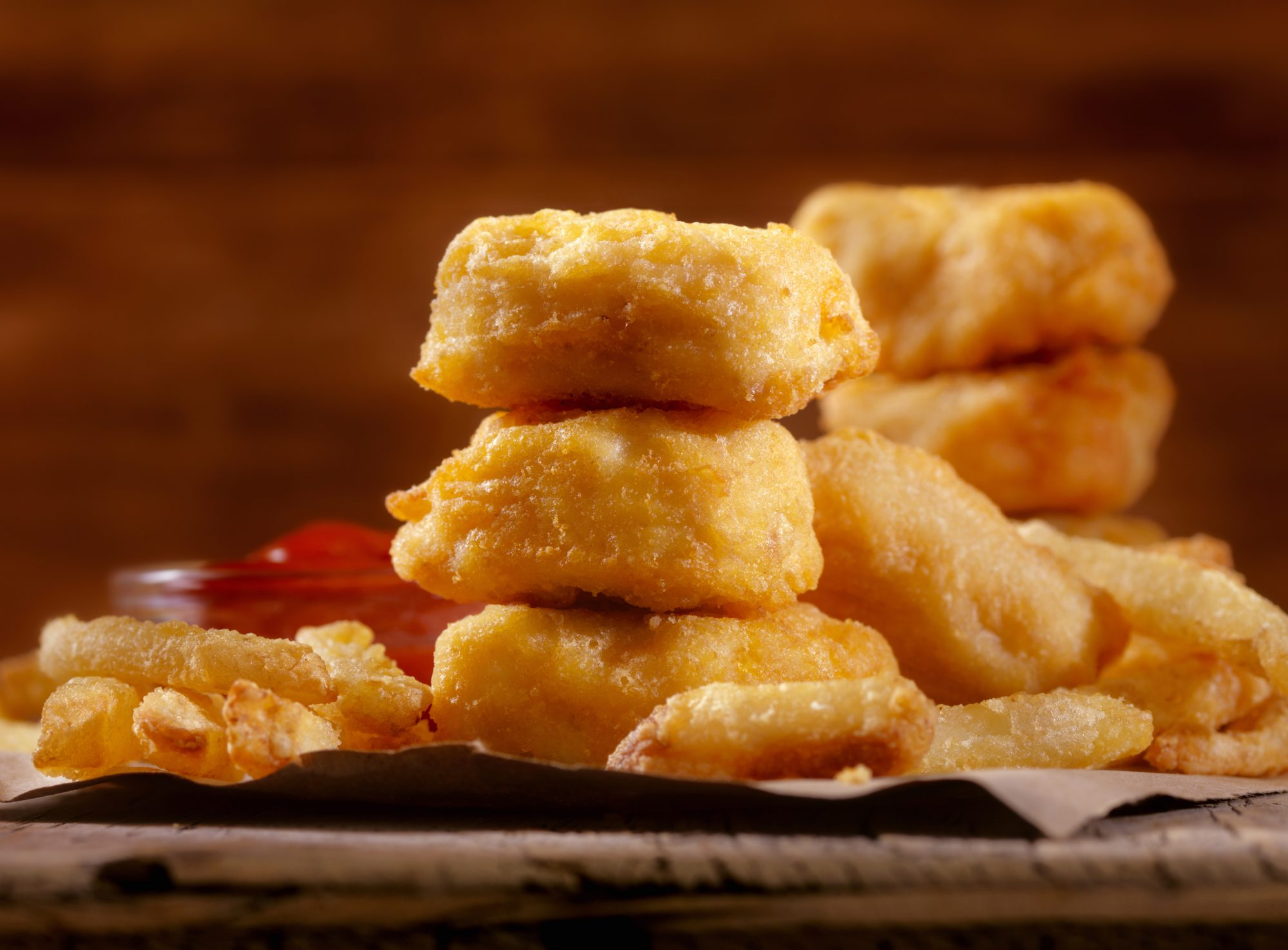 Chicken Nuggets with French Fries and BBQ Sauce Dip