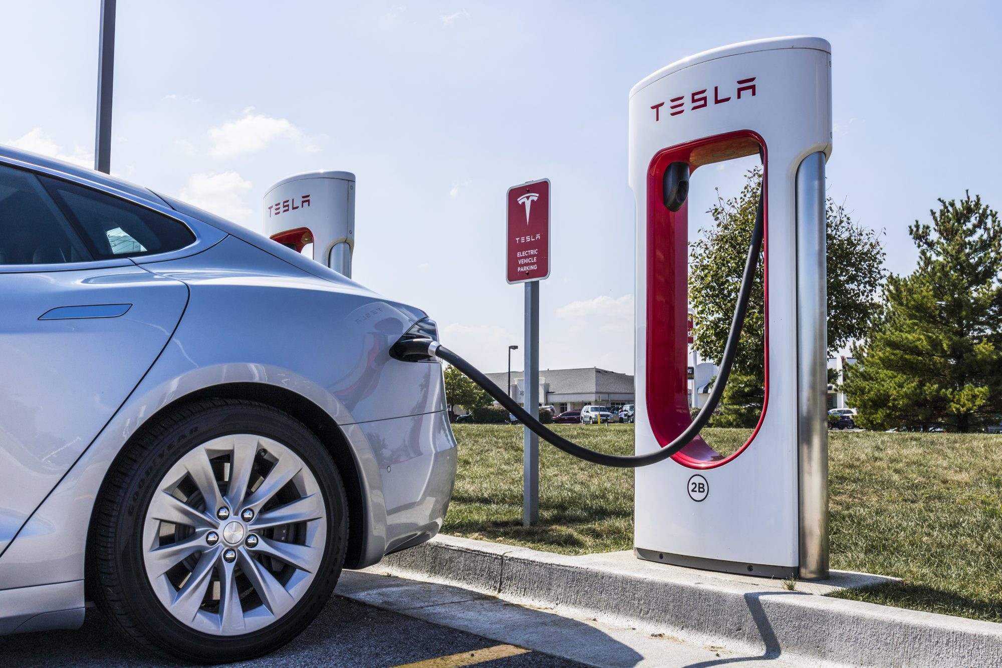 Tesla Supercharger Station. The Supercharger offers fast recharging of the Model S and Model X electric vehicles XI