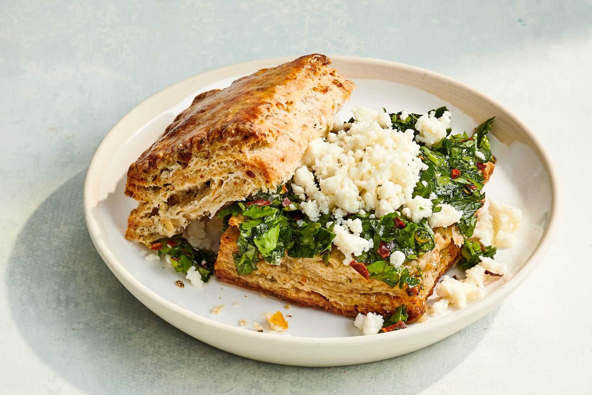 Queso Fresco Sourdough Biscuits with Chimichurri