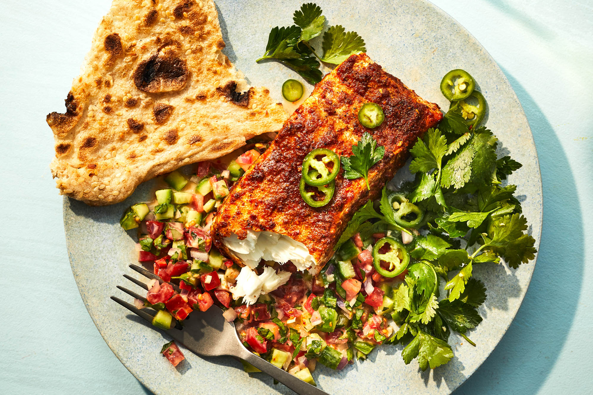 Spice Roasted Halibut with Herbs and Tahini Salad