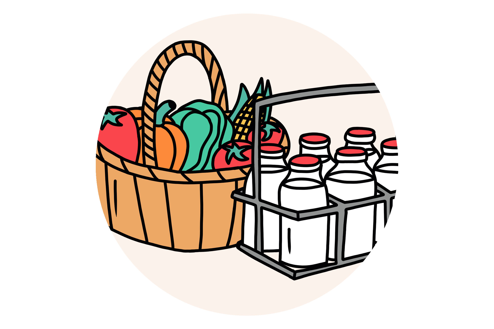 Illustration of produce and milk