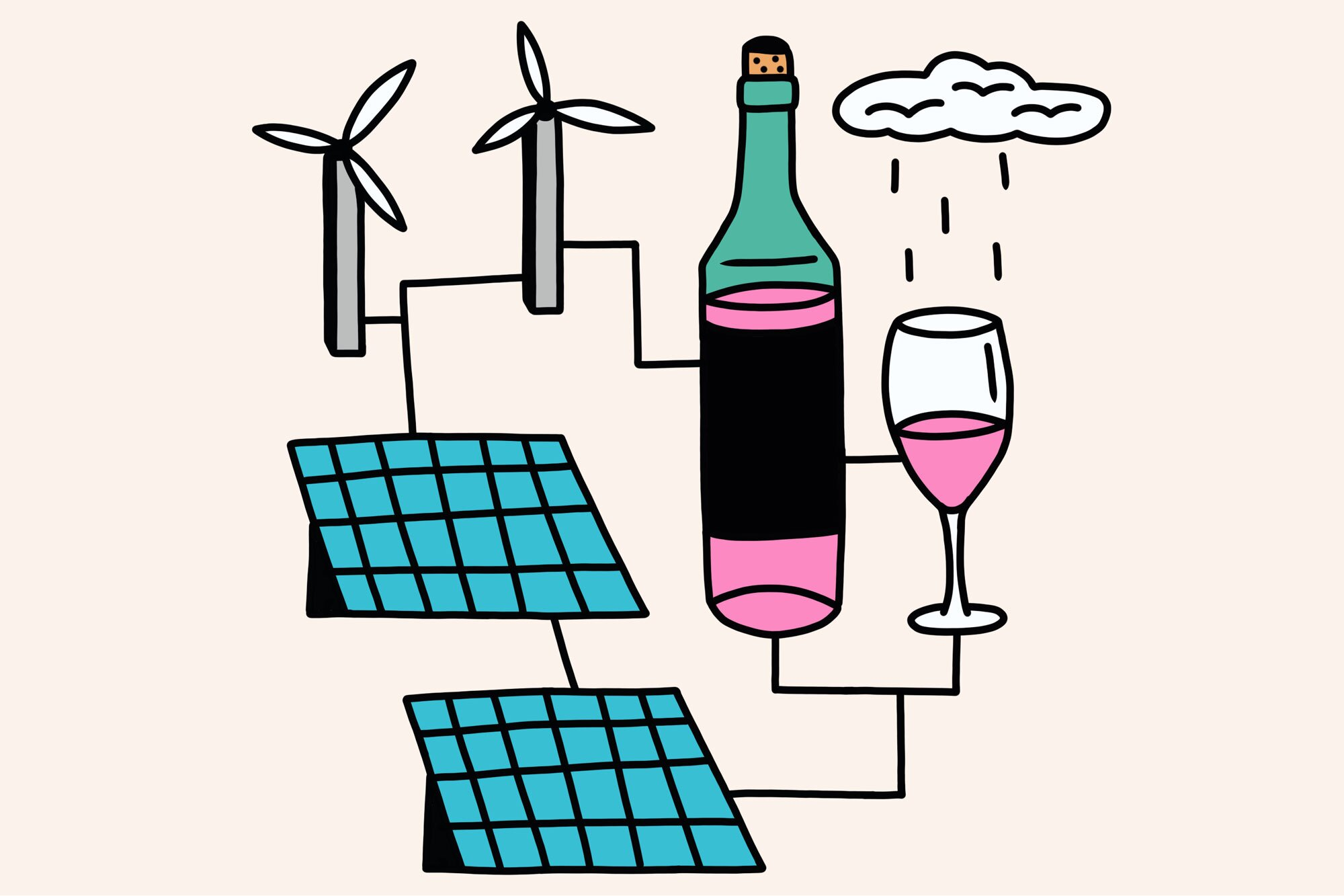 Illustration of wind and solar powered wine