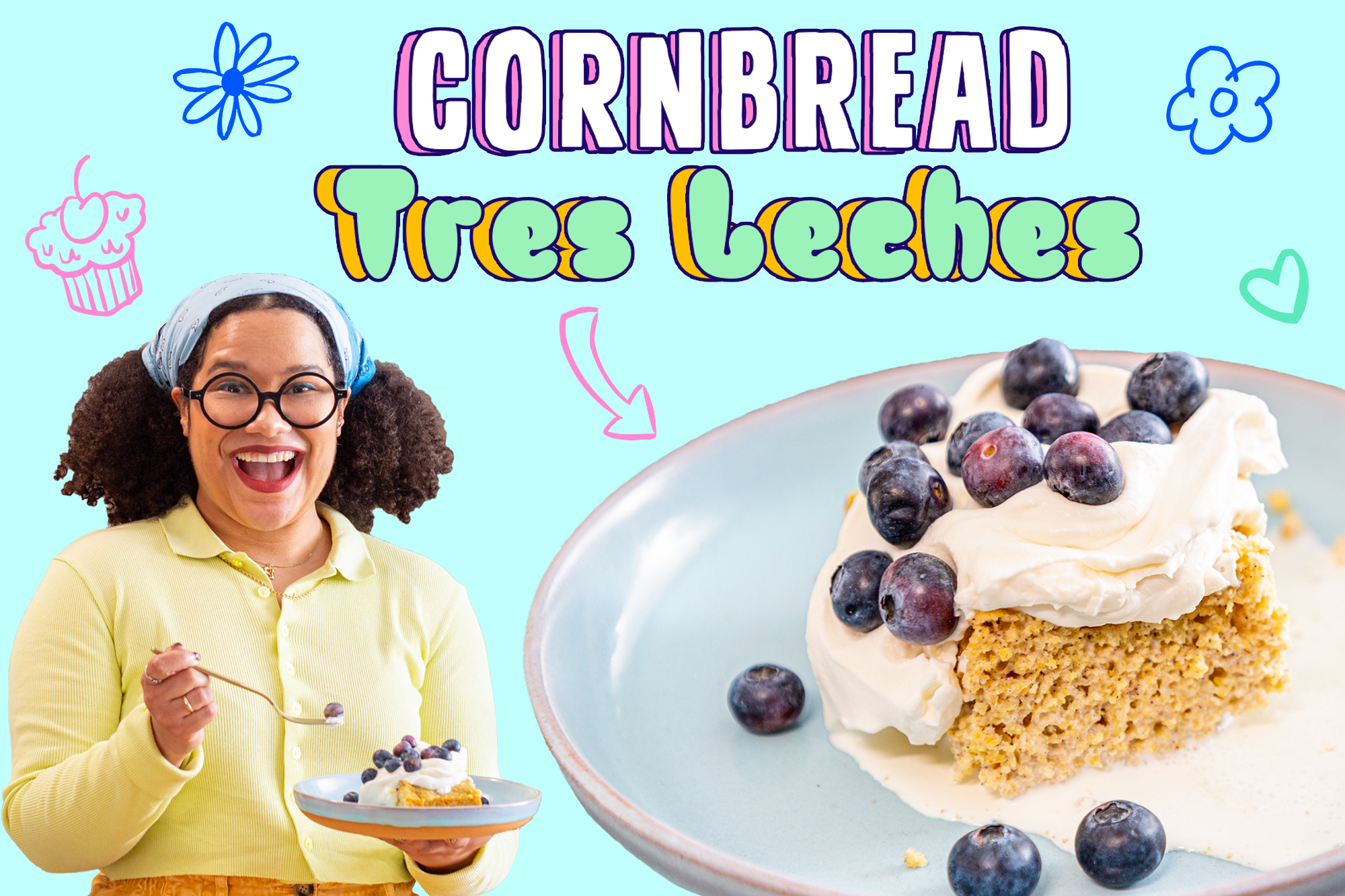 Paola Velez and her cornbread tres leches cake with blueberries
