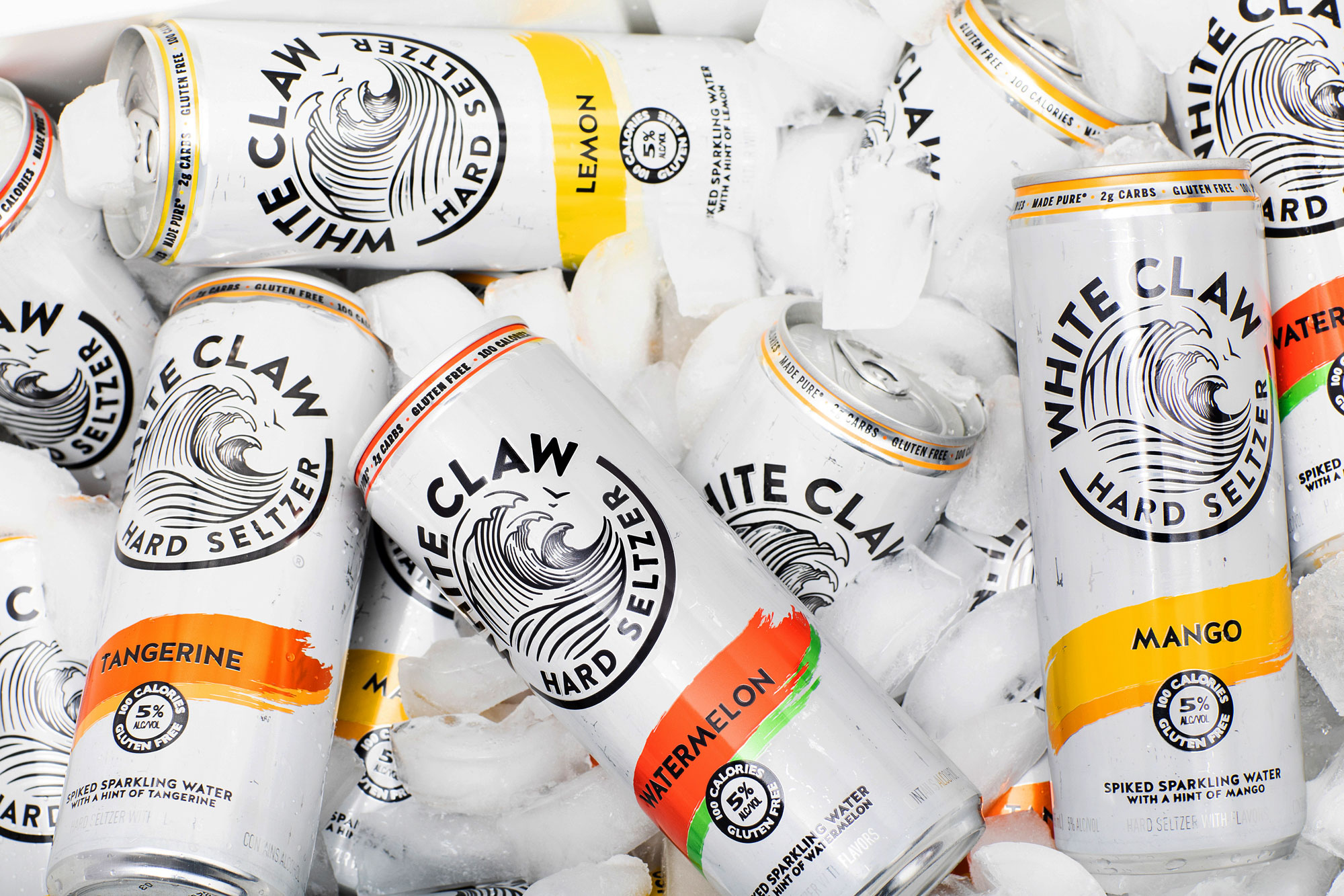 cans of white claw on ice