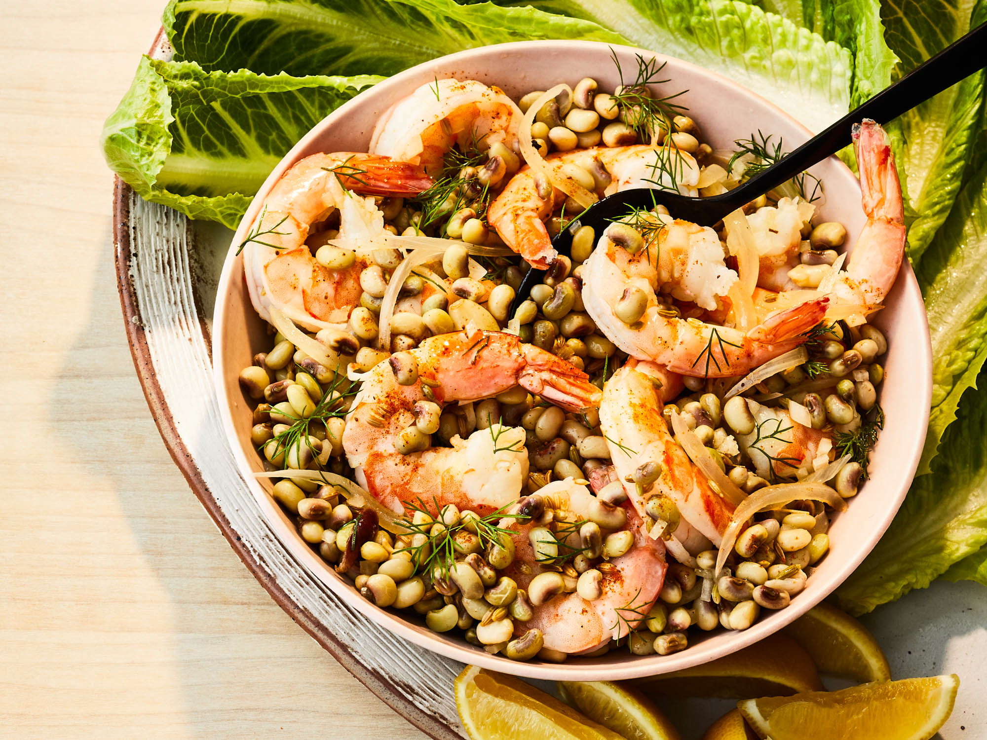 Pickled shrimp and field pea lettuce wraps