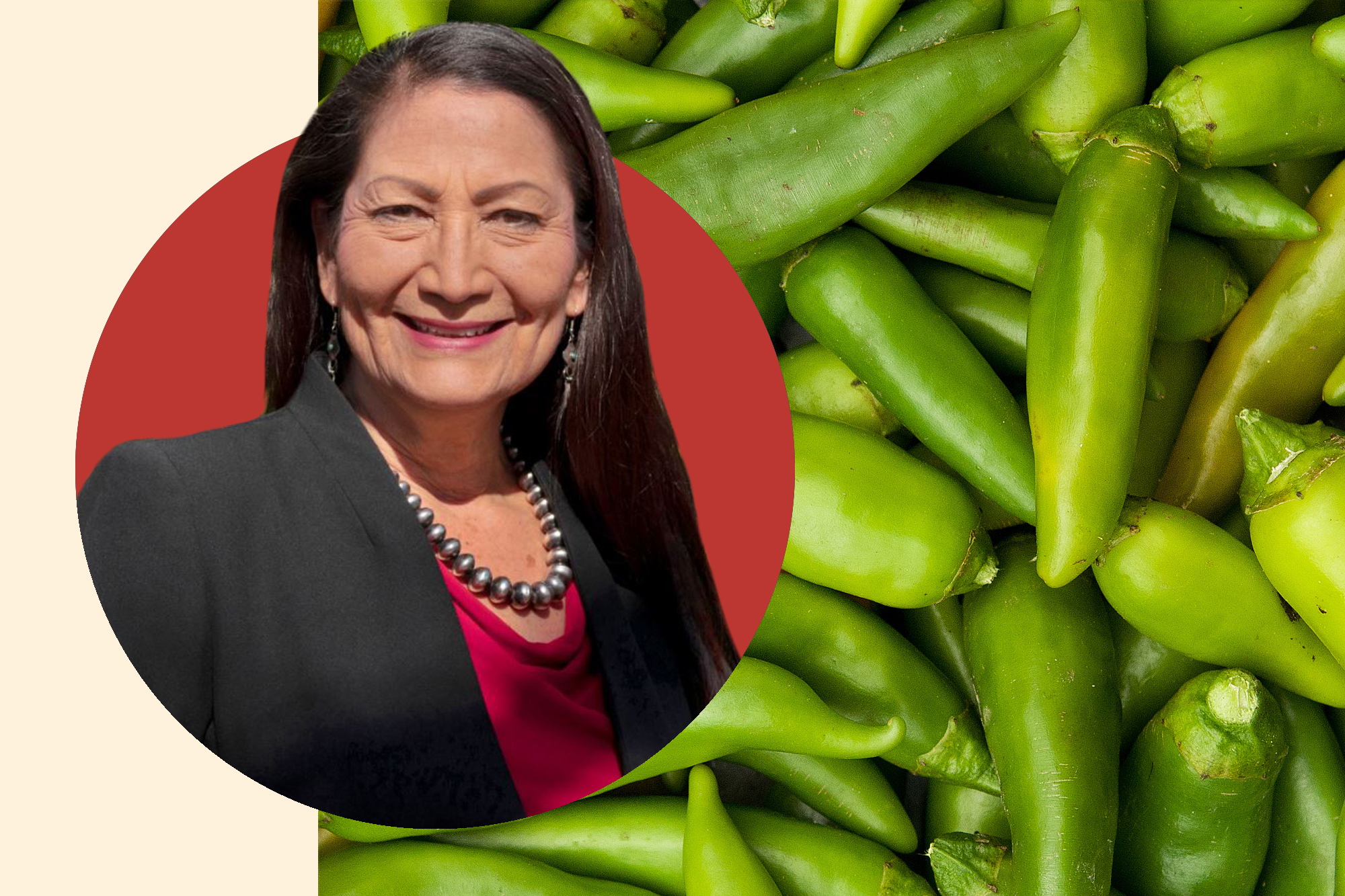 Portrait of Deb Halaand and photo of hatch chiles