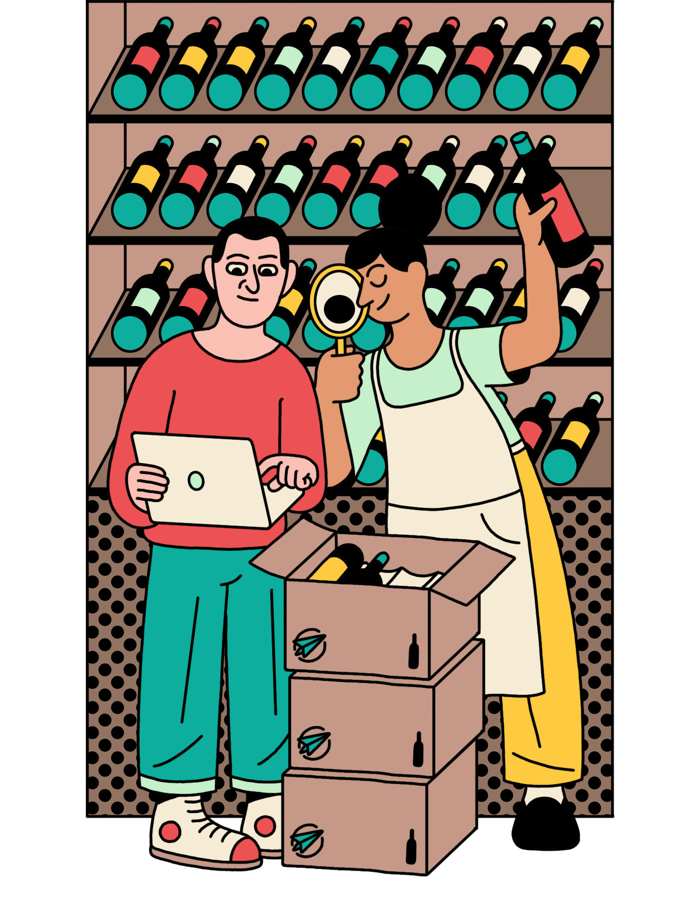 illustration of shopping at a wine store with a laptop in hand