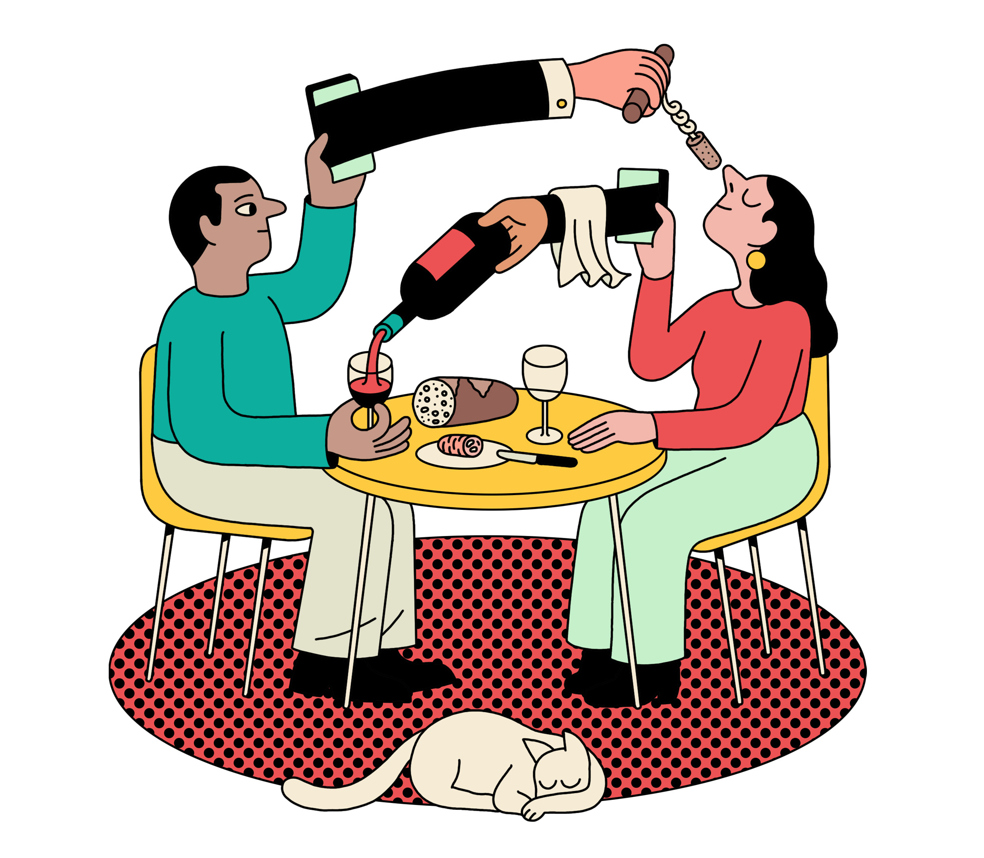 illustration of arms with bottle of wine coming out of cell phones