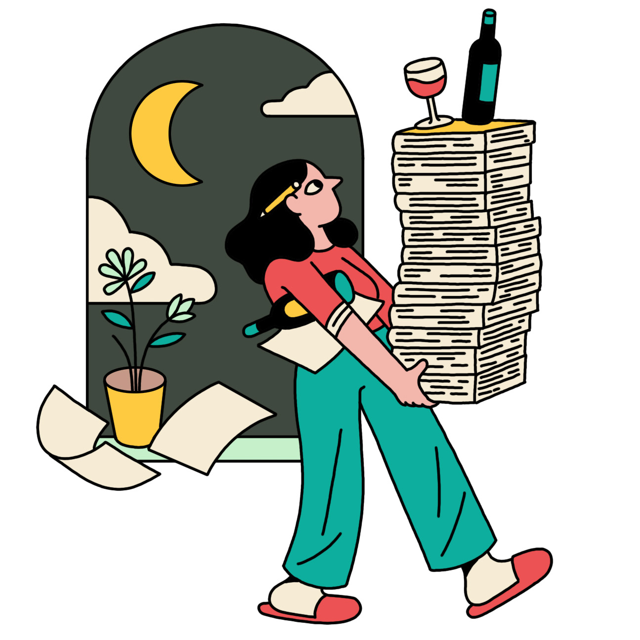 illustration of woman carrying a stack of books with a wine bottle and glass on top