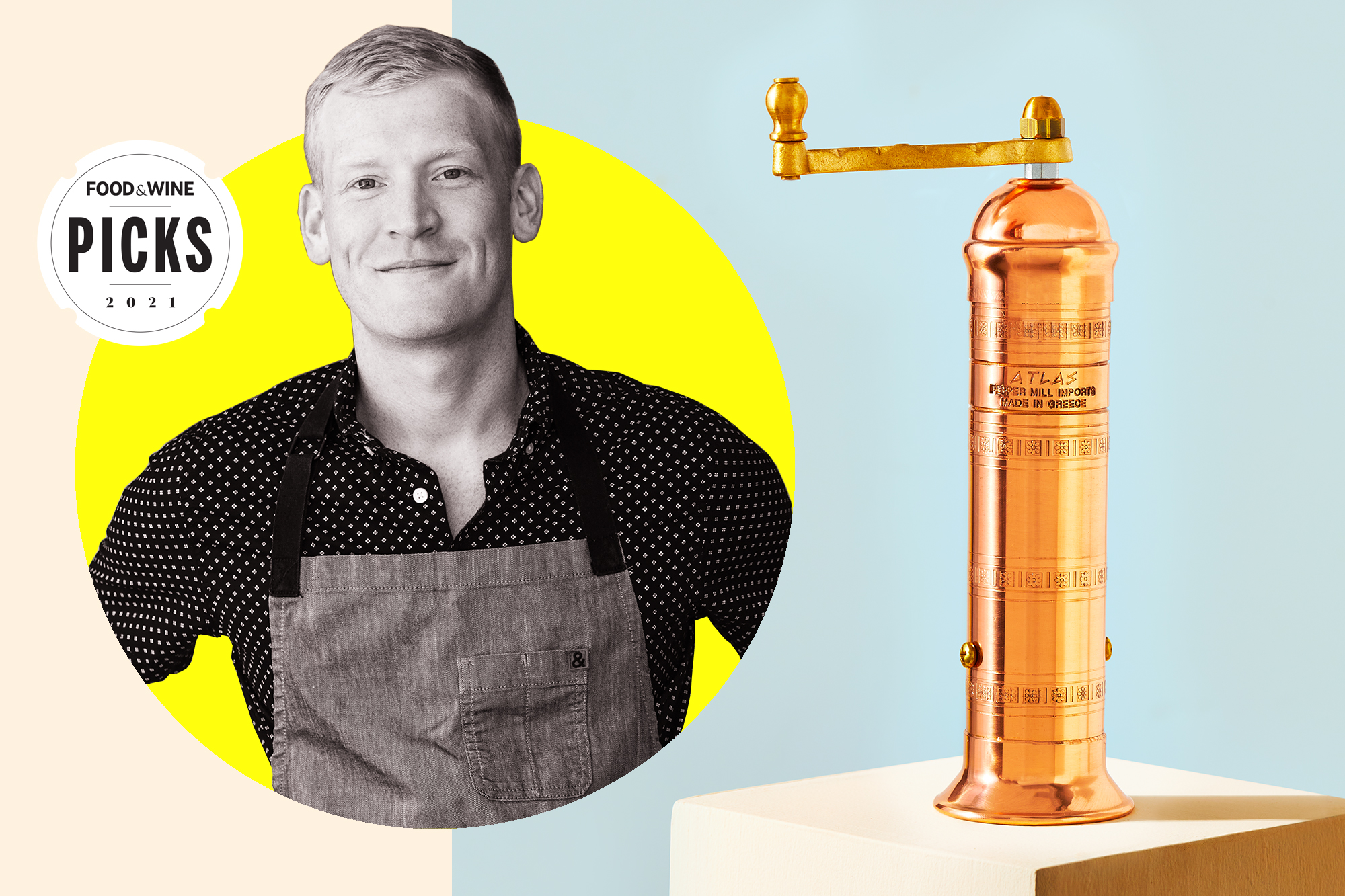 portrait of Justin Chapple and a Peppermill