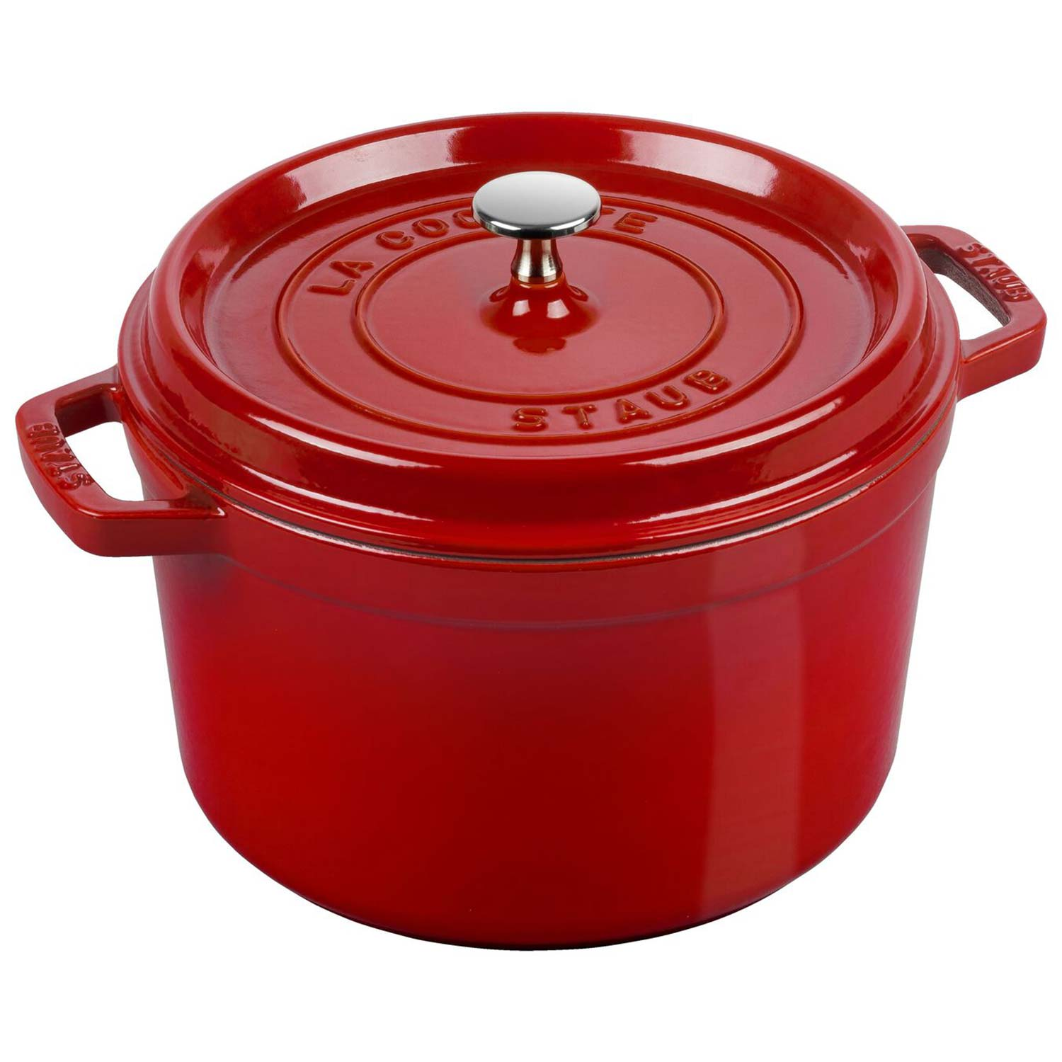 STAUB CAST IRON - TALL COCOTTES 5 QT, ROUND, TALL COCOTTE, CHERRY