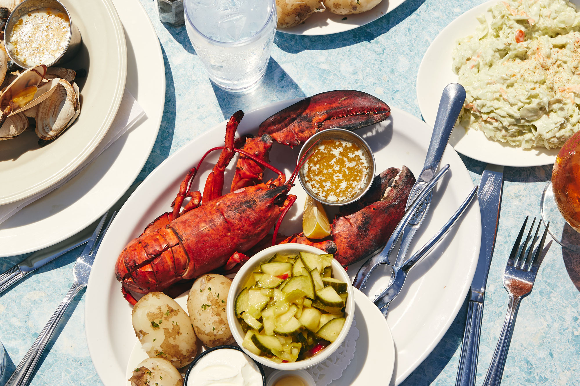 a full lobster supper with steamed new potatoes at Lobster on the Wharf on Prince Edward Island