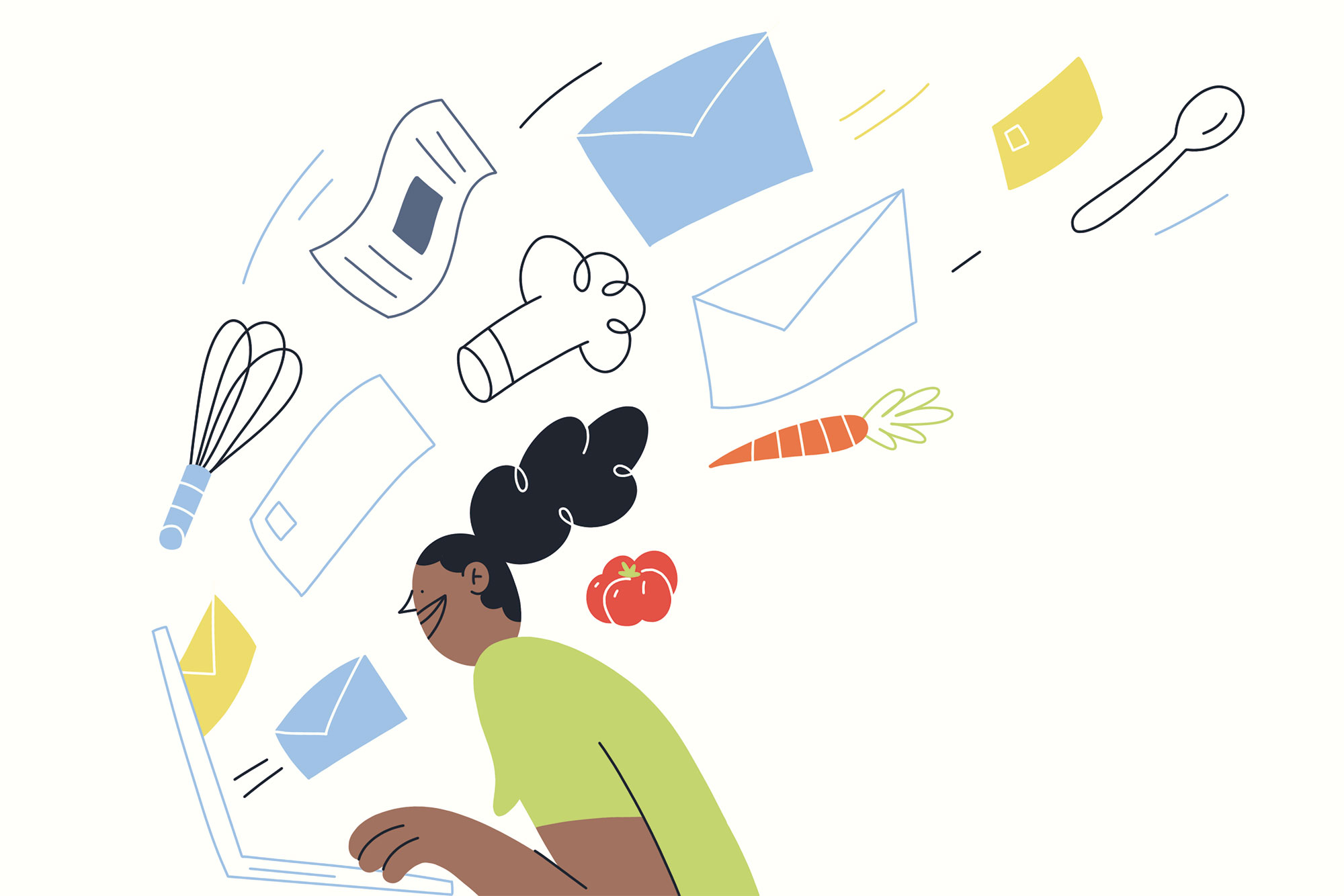 Woman checking email on a laptop illustrated