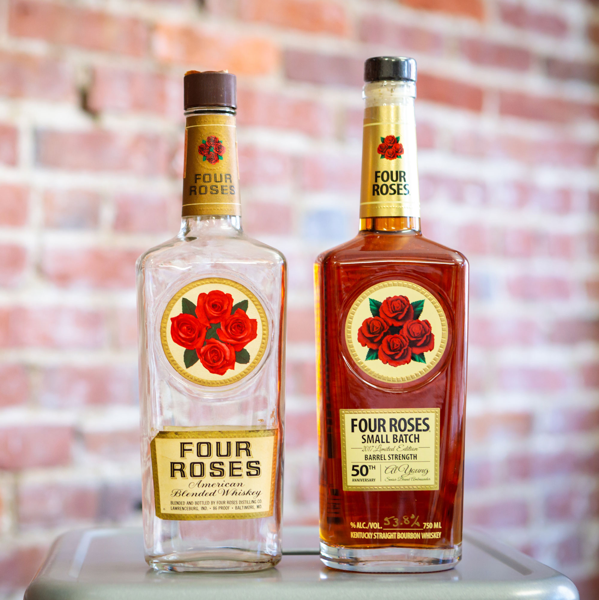 bottles of Four Roses Blended Whiskey and Four Roses Small Batch Al Young 50th Anniversary