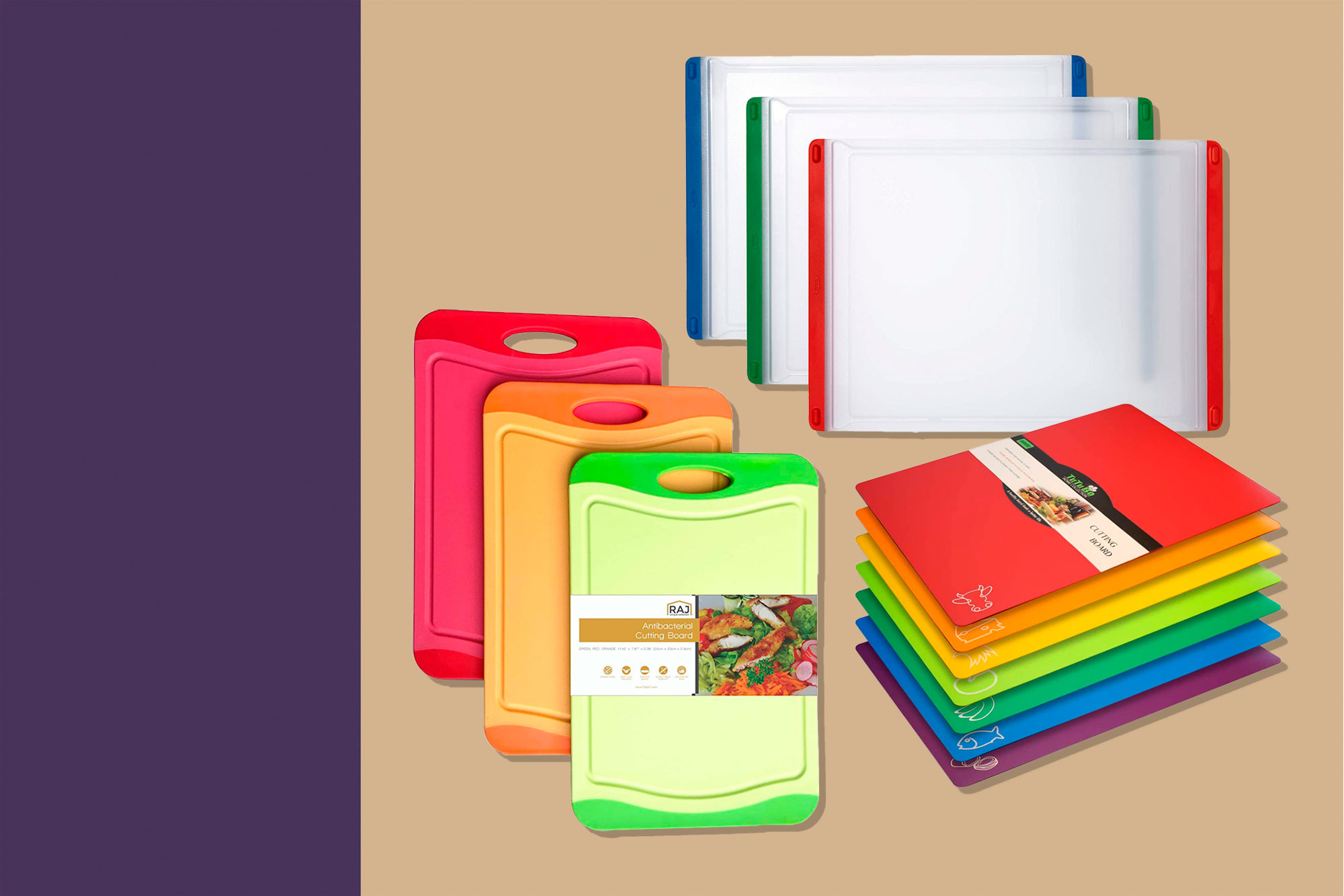 Three sets of color coded cutting boards