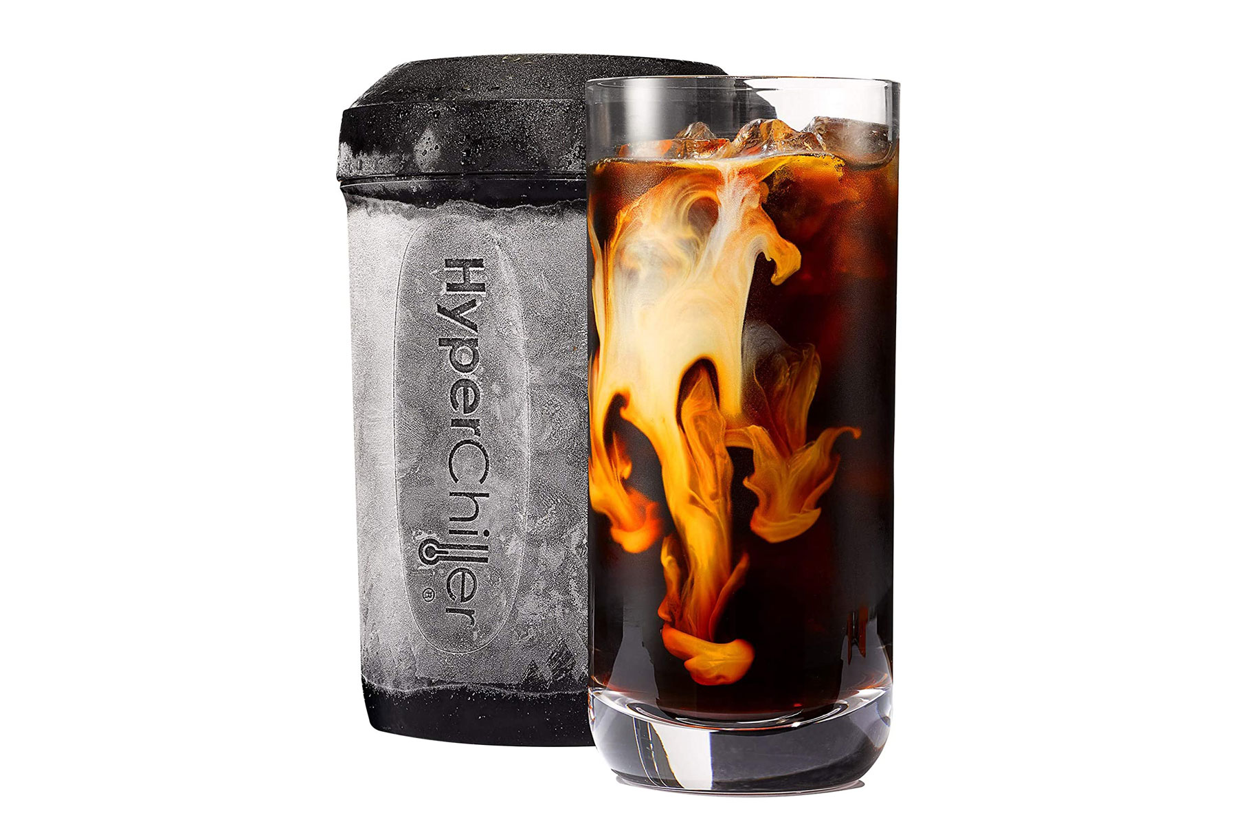 Chiller device and iced coffee in glass