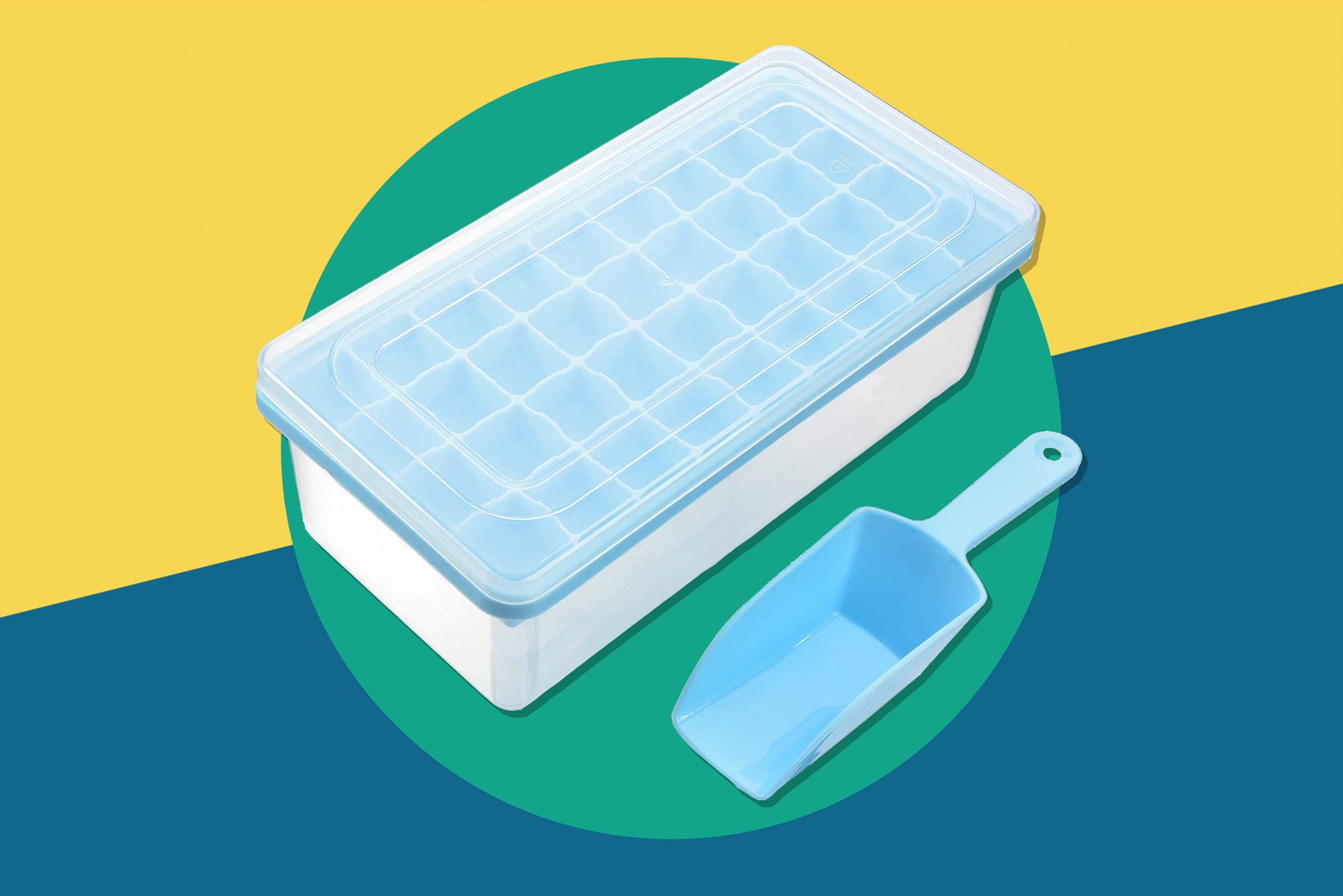 ice cube tray with bin, lid, and scoop
