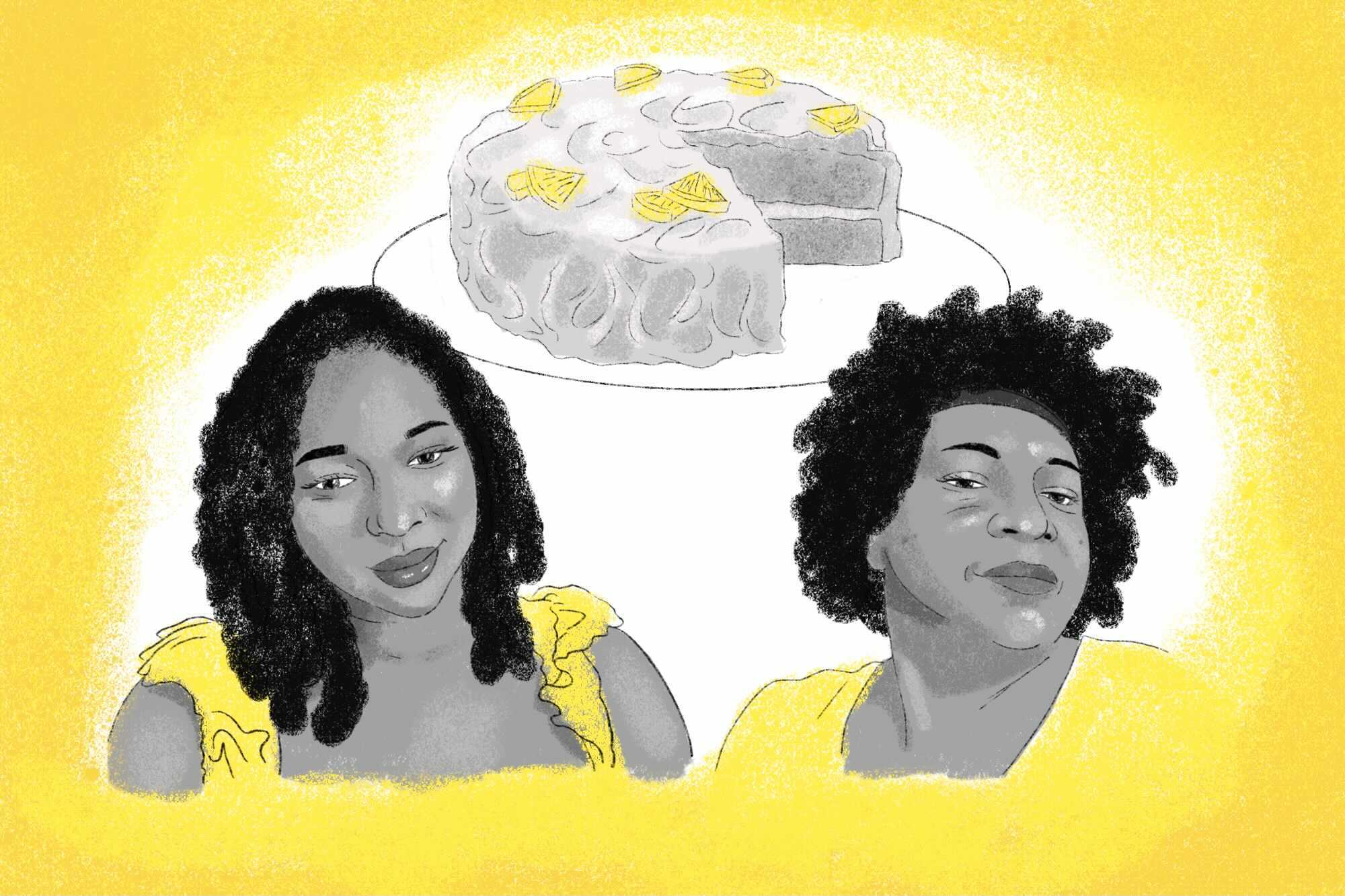 Illustration of the writer, her mother, and a lemon layer cake