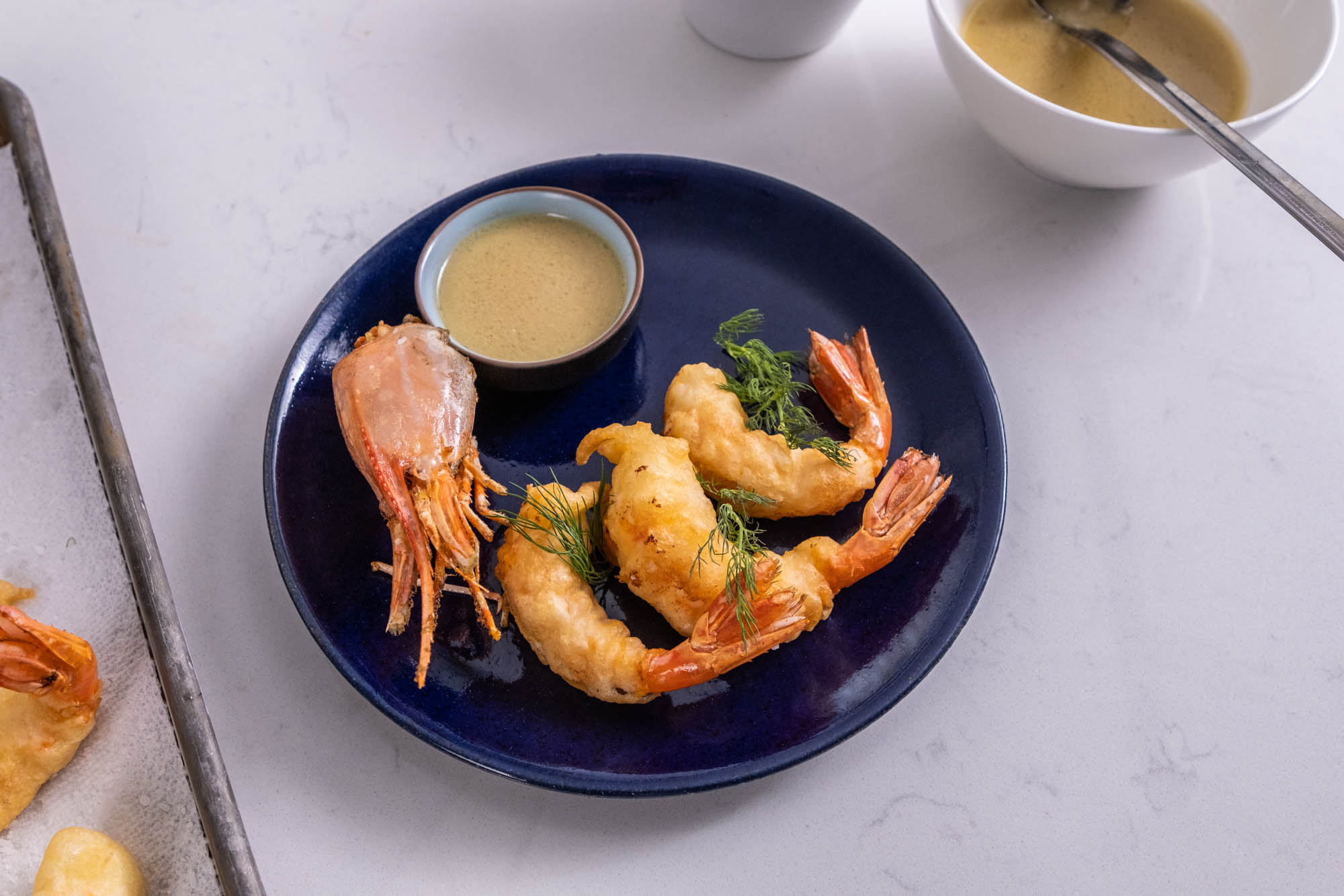 Fried Spot Prawns with Chocolate Morel Sauce