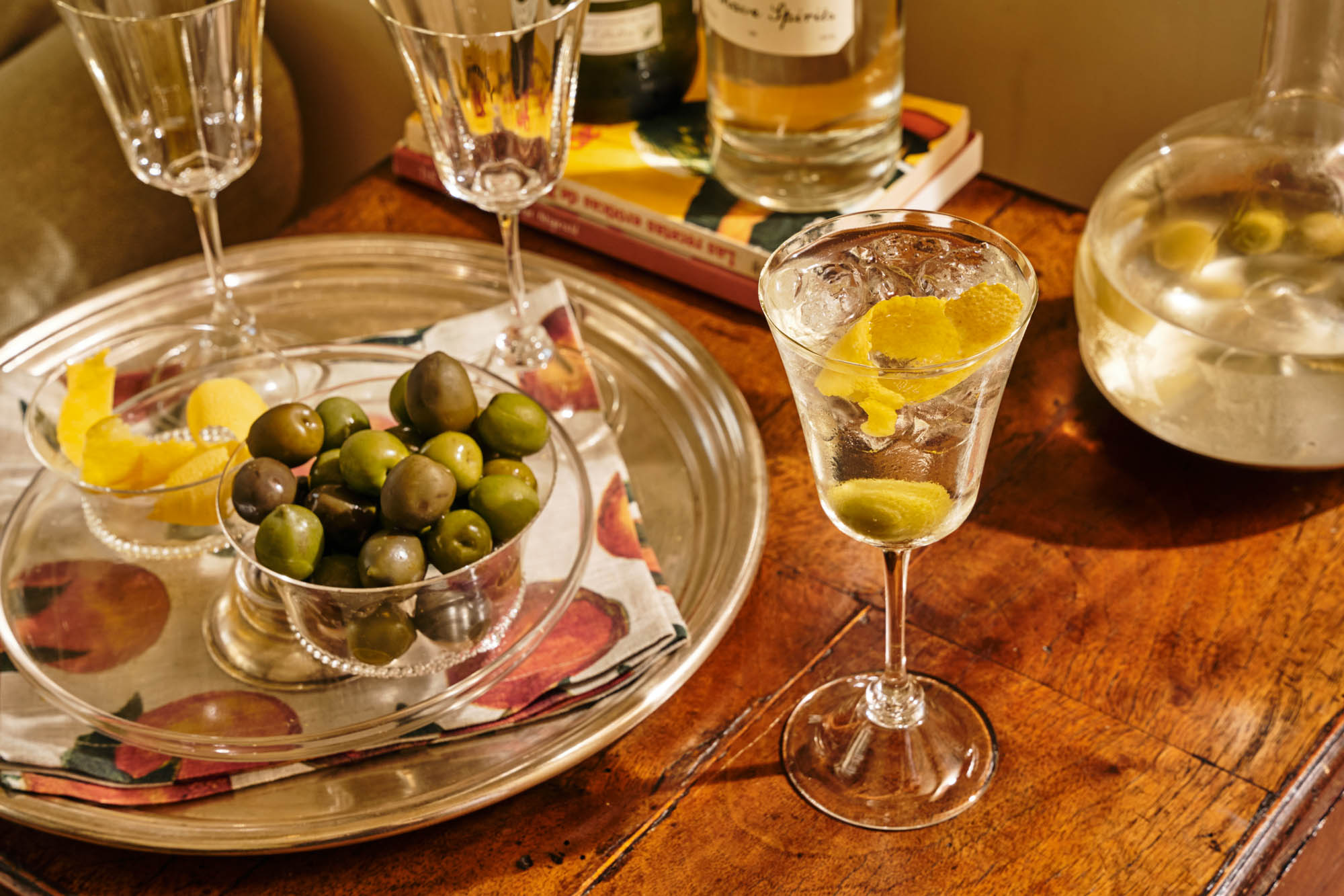 martini with olive and lemon twist
