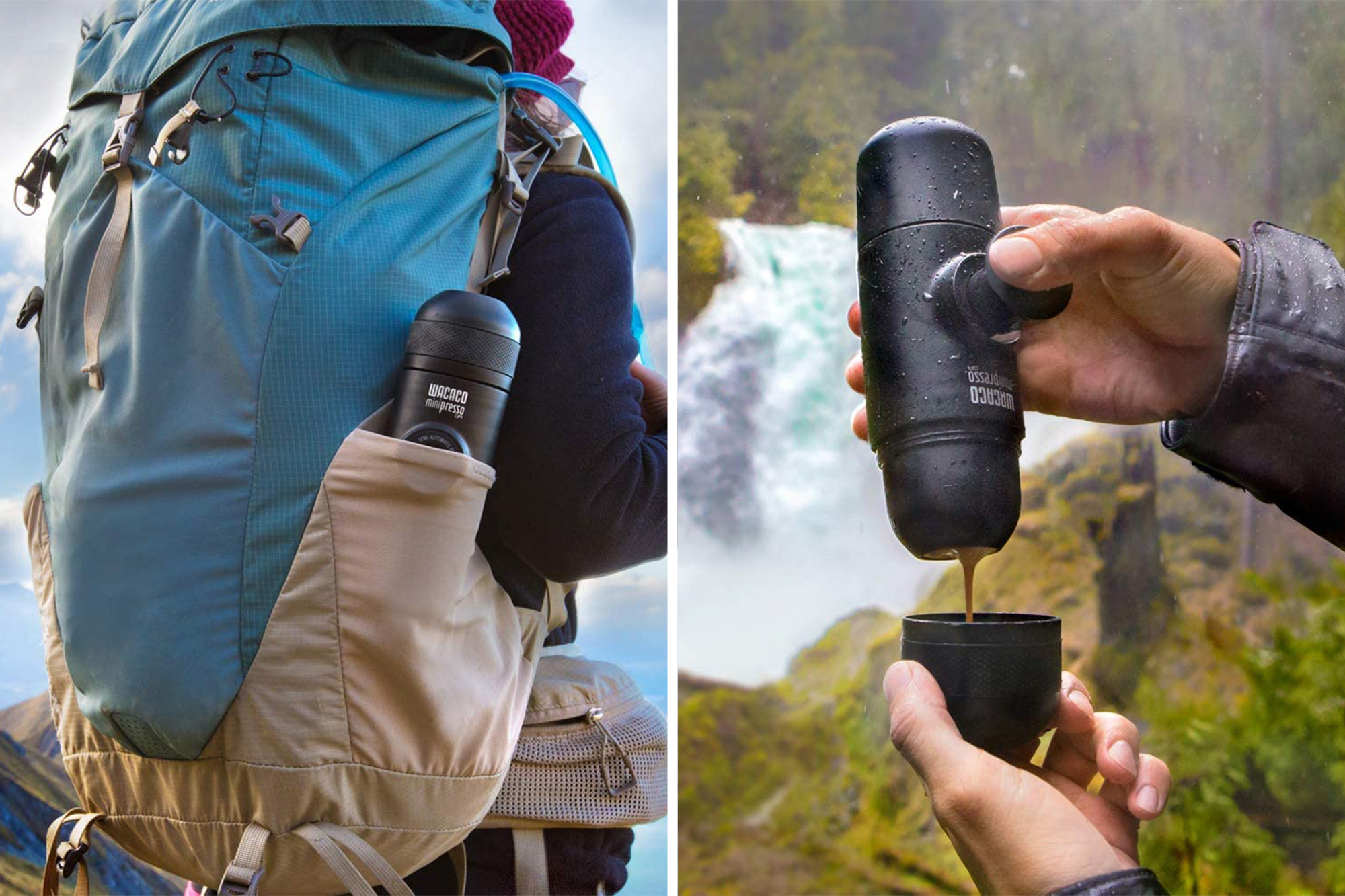 Wacaco minipresso in a hiking backpack and making espresso by a waterfall