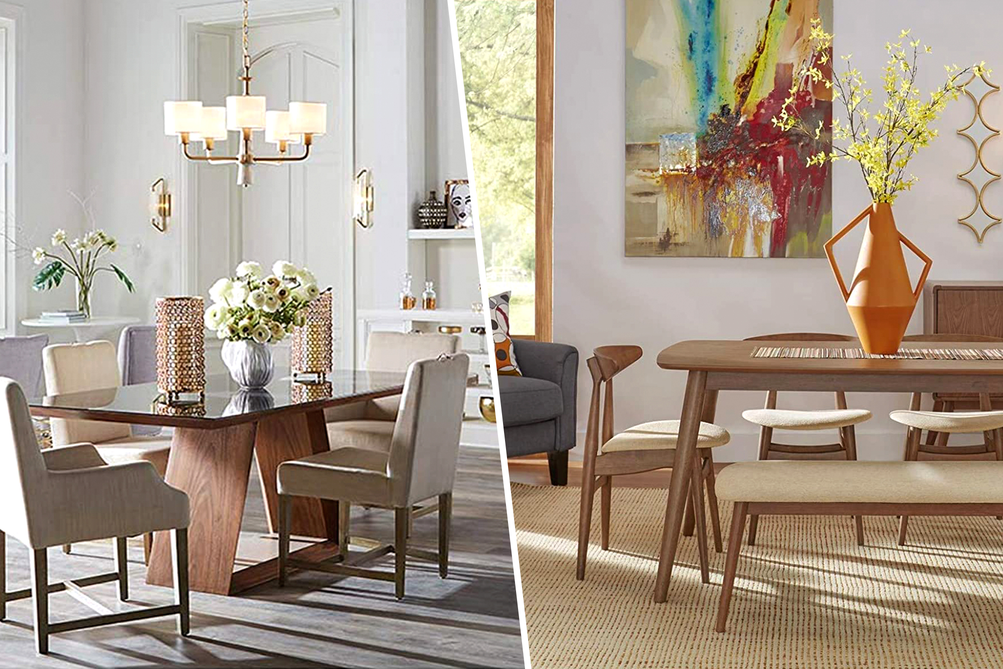 two styled dining rooms