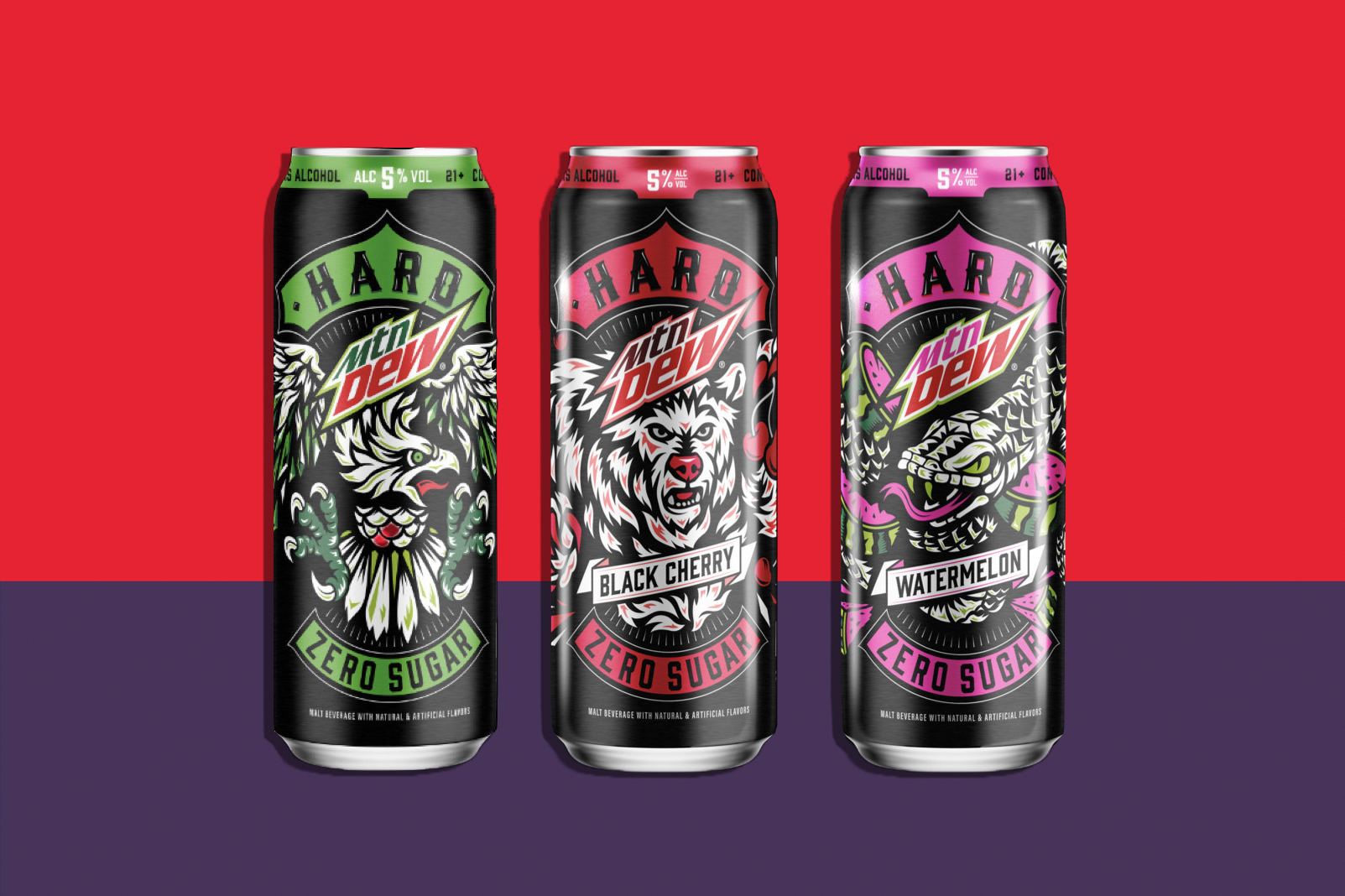 Cans of Hard Man Dew