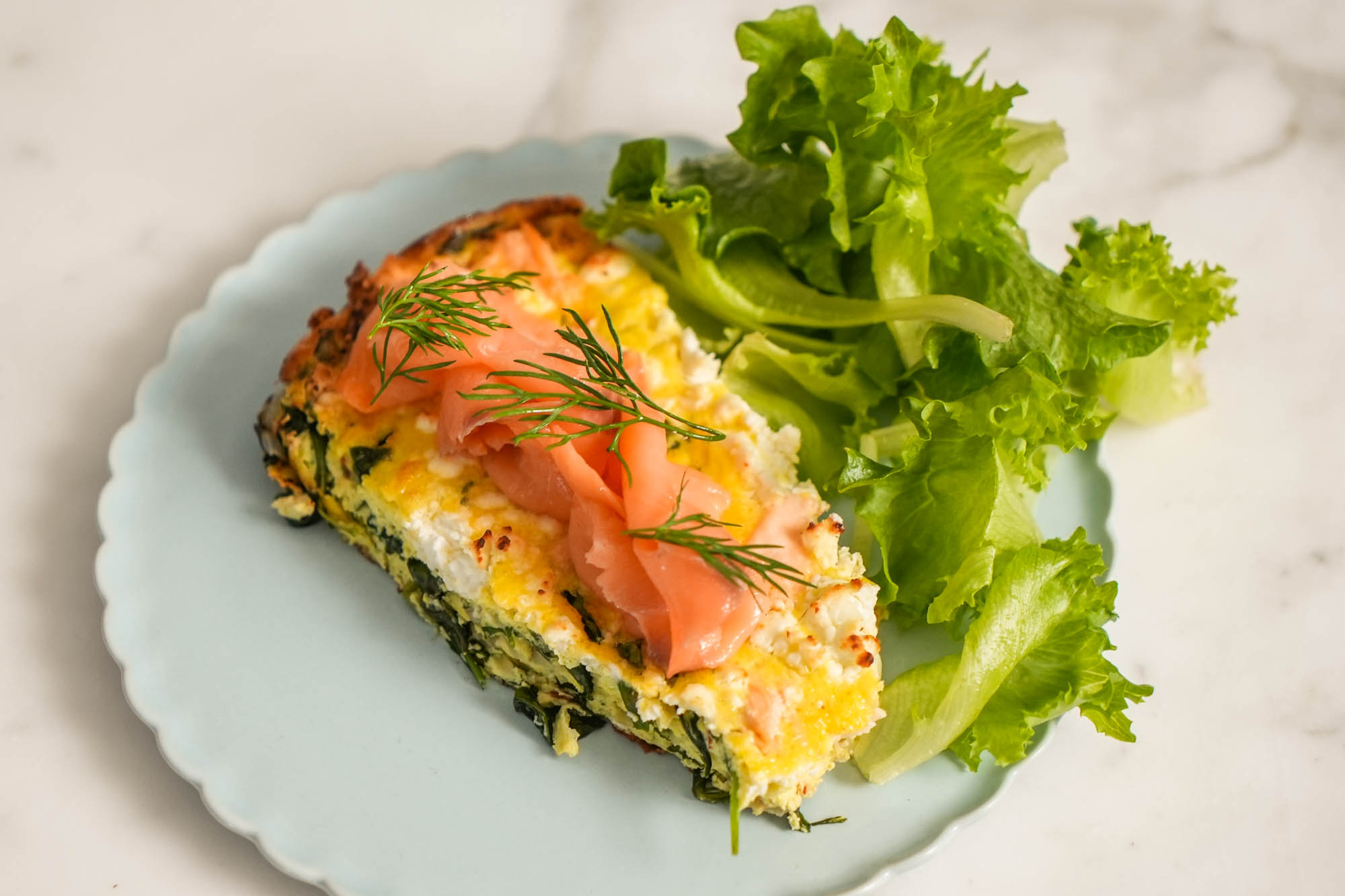 Eric Adjepong's salmon and arugula frittata with a side salad