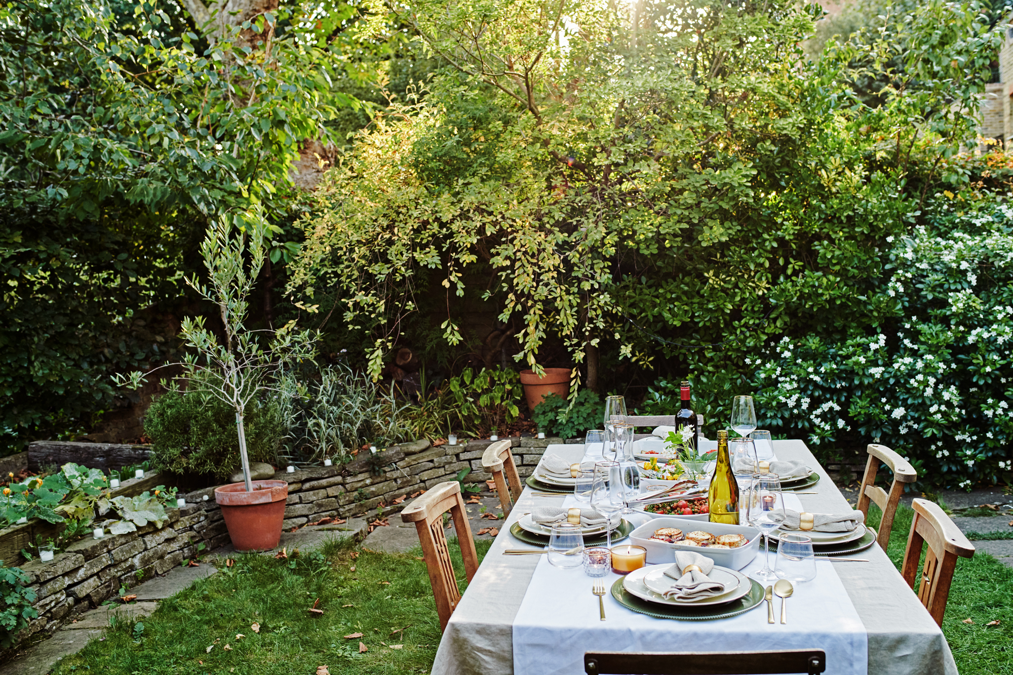 Table set with food ready to serve outside