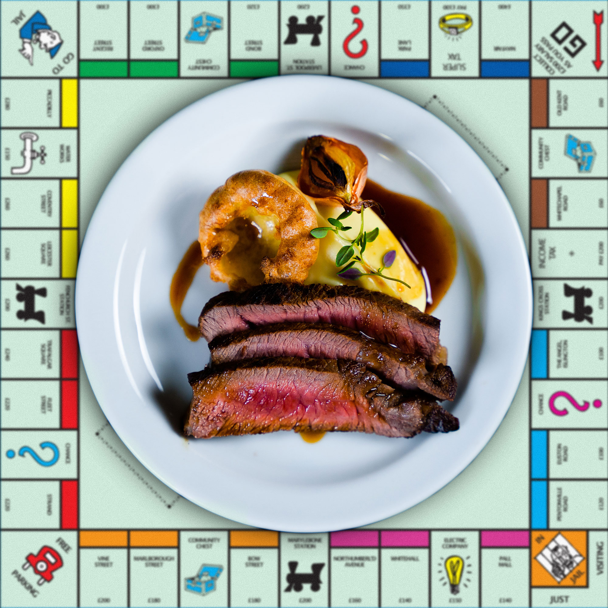 The Top Hat Monopoly-themed restaurant steak