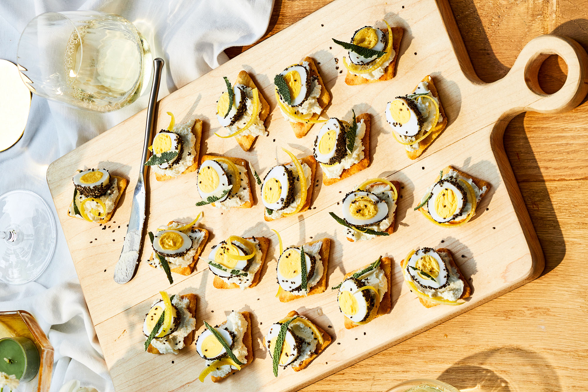 Goat Cheese Quail Egg Canapes