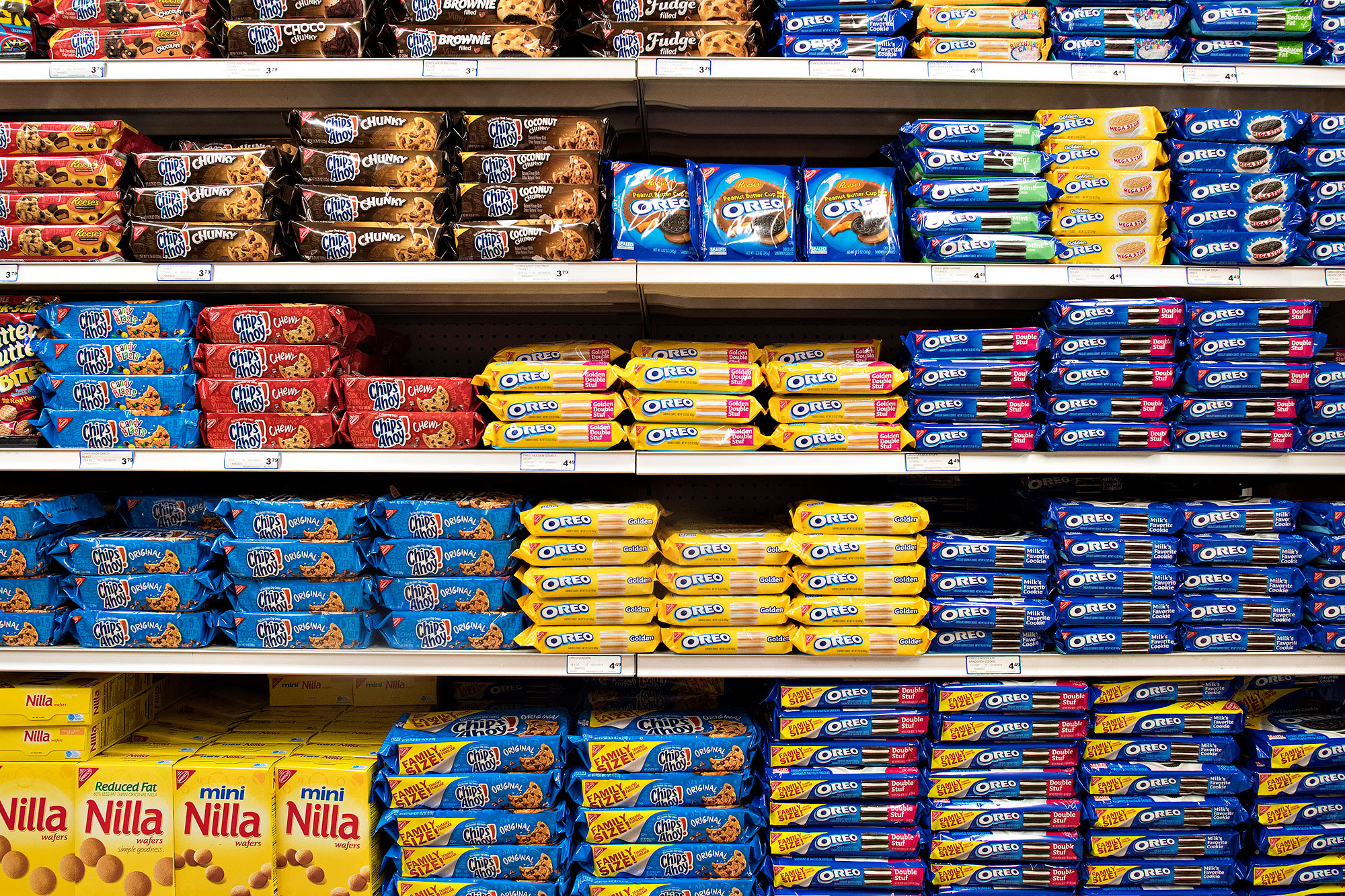 Nabisco products on a grocery store shelf