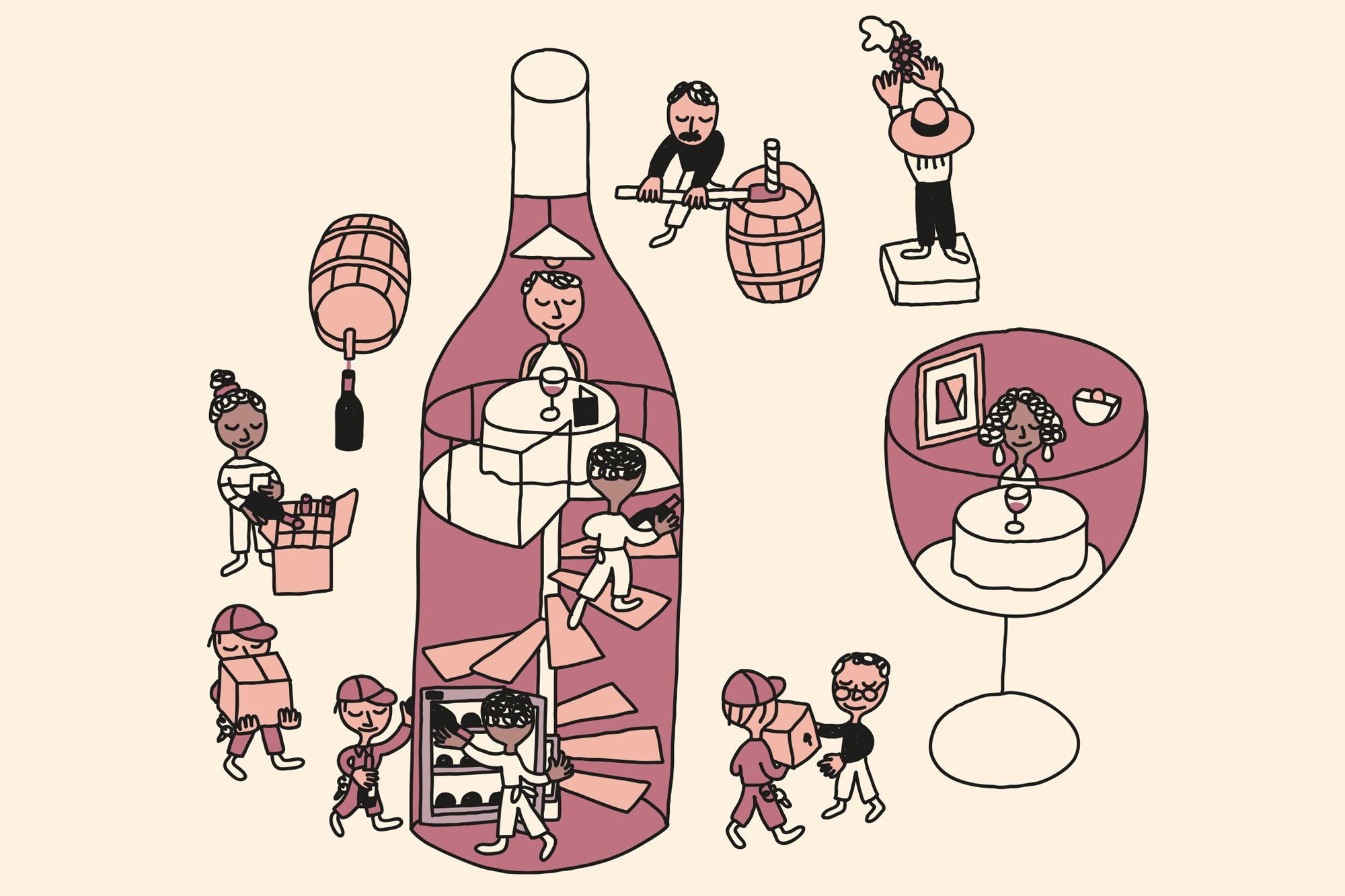 illustration of people working in and around a wine bottle and glass
