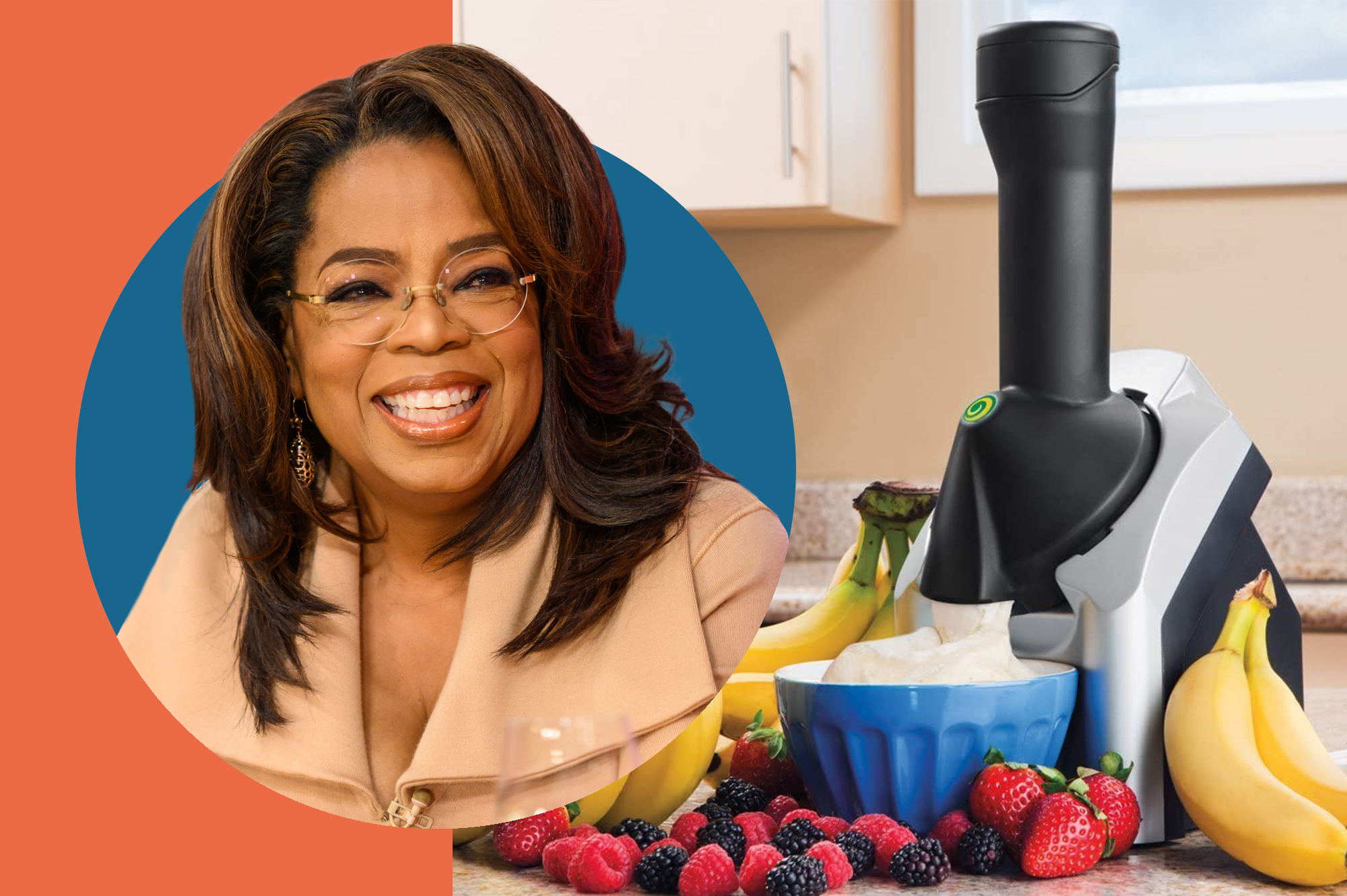 Portrait of Opray Winfrey and photo of Yonanas product